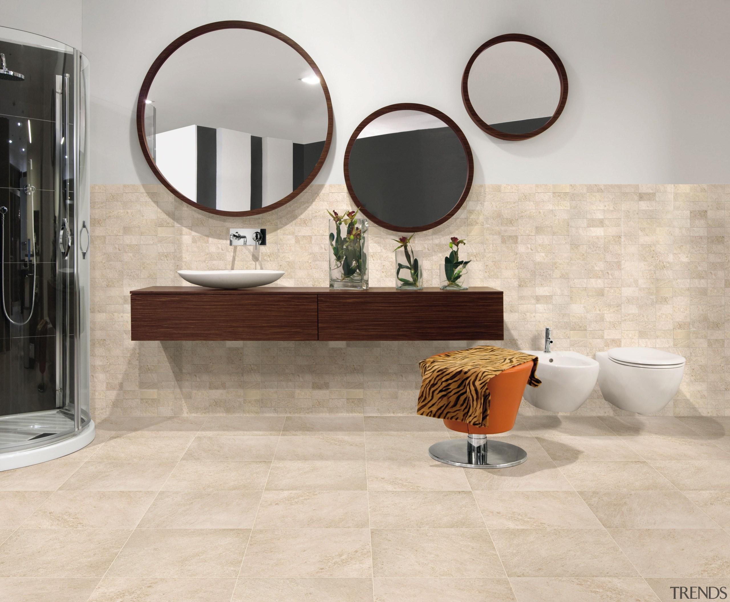 Beige bathroom floor. - Riviera Range - bathroom bathroom, bathroom accessory, bathroom cabinet, ceramic, floor, flooring, furniture, interior design, plumbing fixture, product design, sink, table, tap, tile, wall, gray