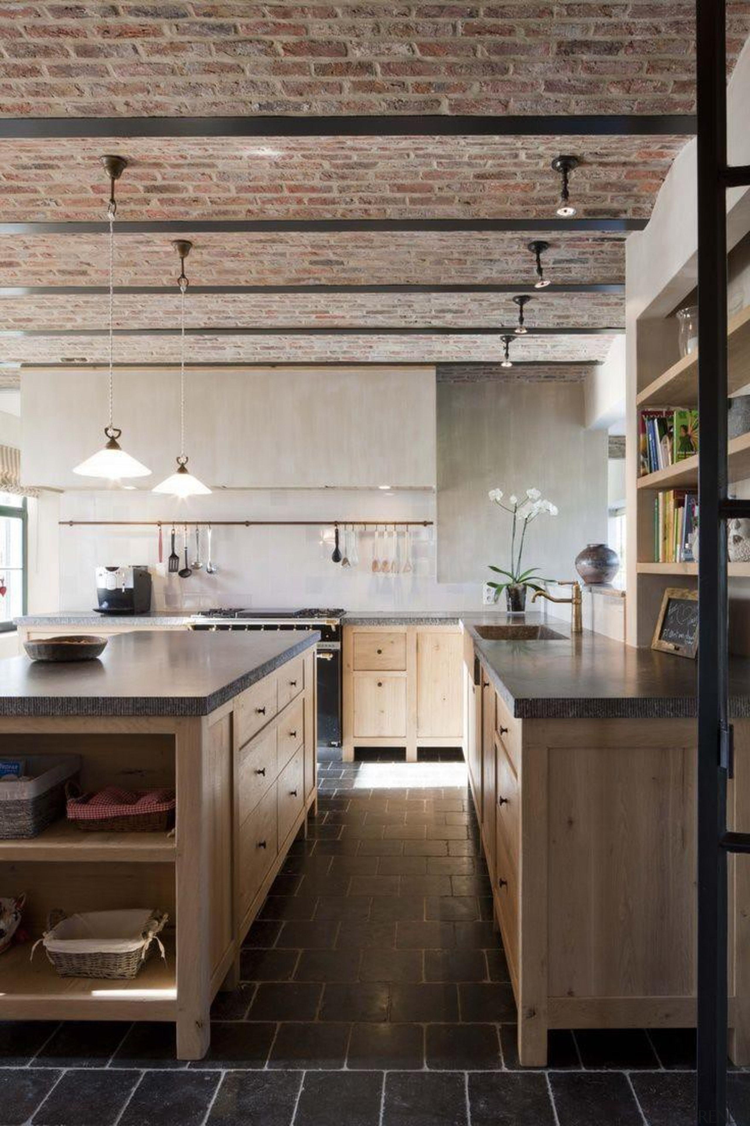 Start a myTrends ProjectCreate an ideas hub for cabinetry, countertop, cuisine classique, floor, flooring, hardwood, interior design, kitchen, wood flooring, gray, black