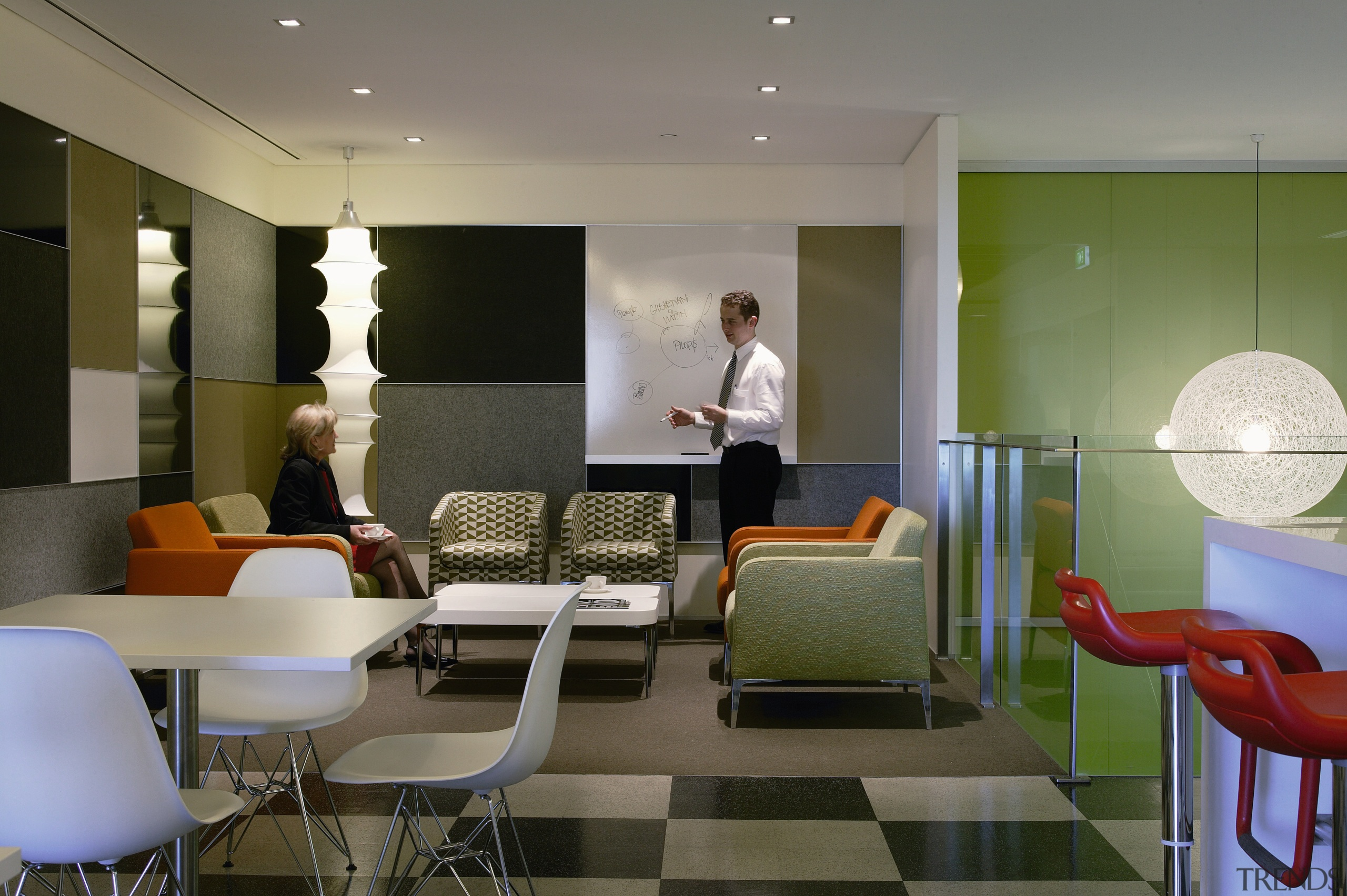 View of the breakout area, green, brown and apartment, architecture, ceiling, furniture, interior design, lobby, office, room, table, waiting room, gray, brown