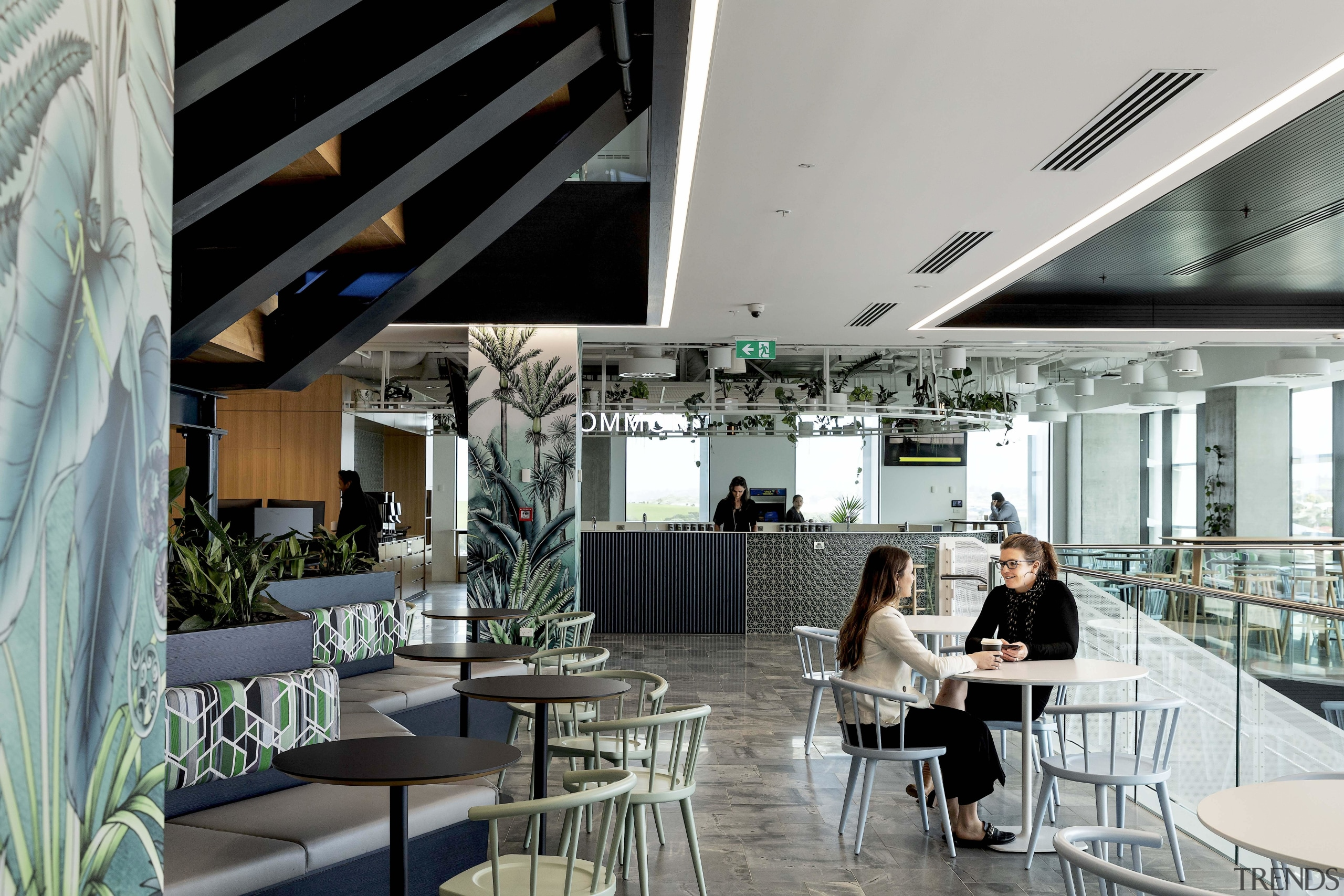 This flexible work and social space under the gray, black