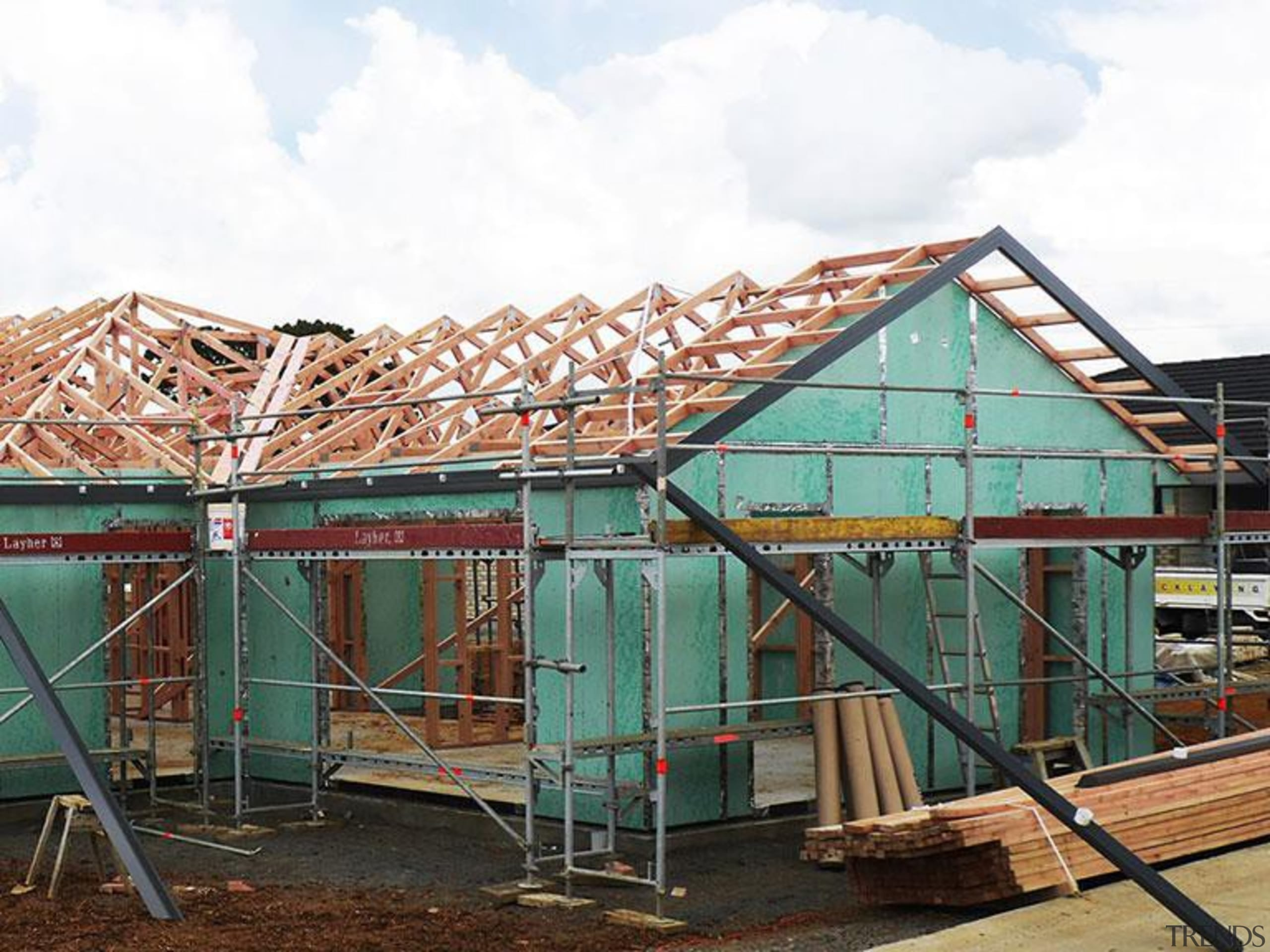 RAB pre - Cladding 2 - RAB pre construction, facade, roof, scaffolding, structure, white
