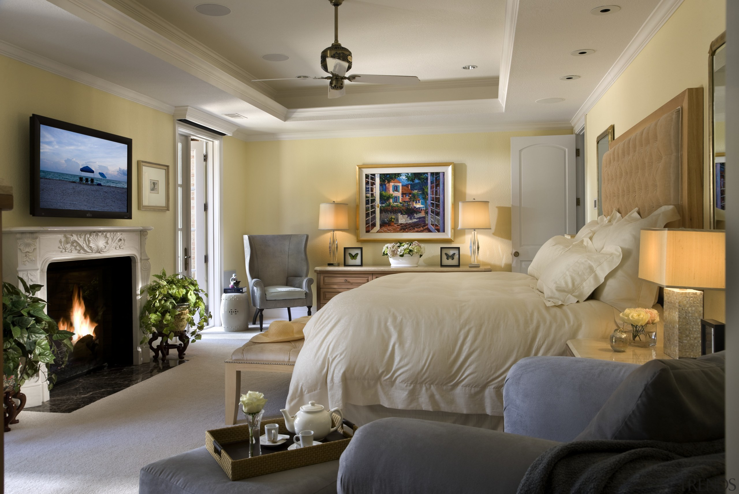 Master bedroom overviewing the furniture & fireplace ceiling, home, interior design, living room, real estate, room, wall, gray