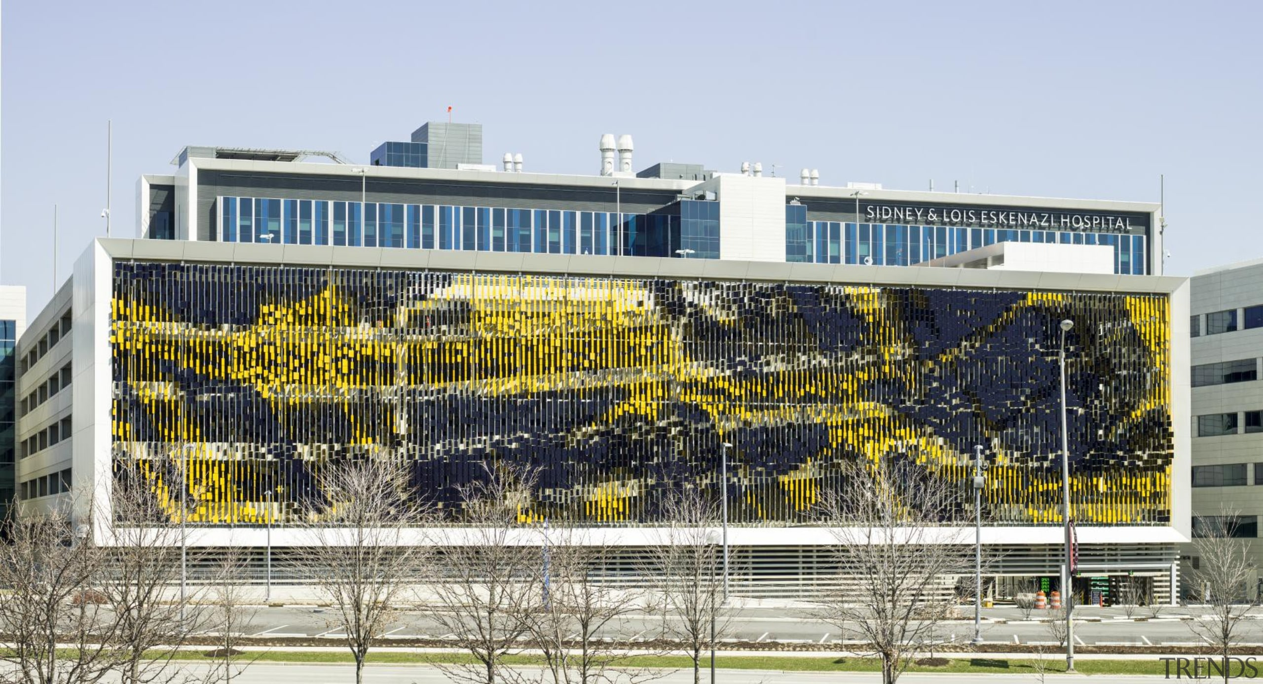 This display on the parking structure at Eskenazi architecture, building, corporate headquarters, facade, headquarters, mixed use, structure, white