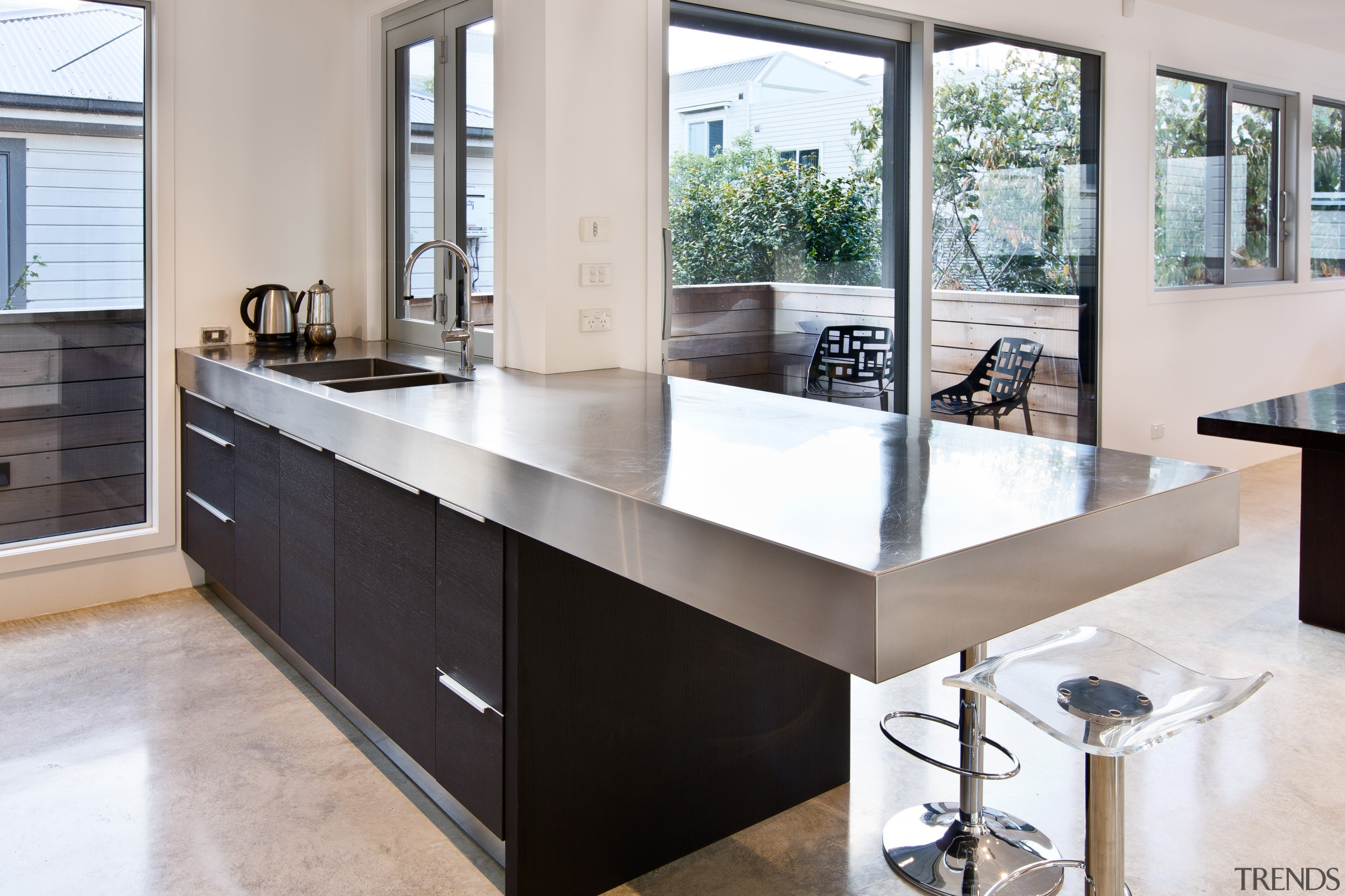 Internal steel support was required to achieve the cabinetry, countertop, cuisine classique, interior design, kitchen, sink, gray