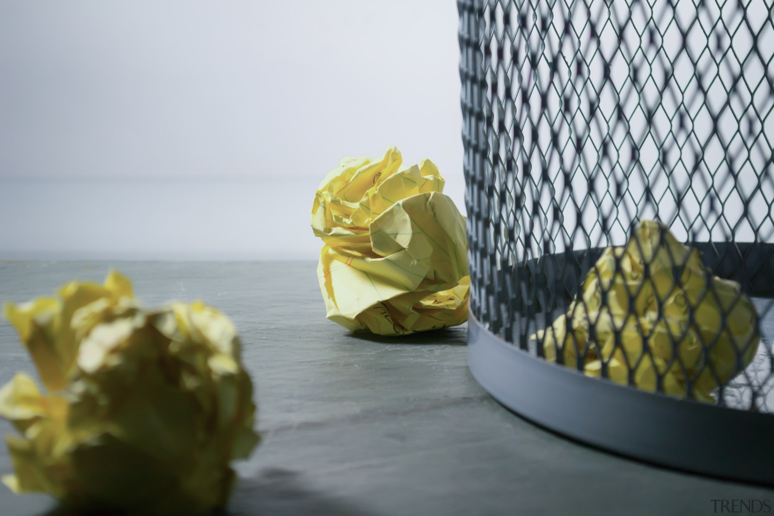 Have a small garbage or recycle can under ananas, plant, still life, still life photography, yellow, gray, white