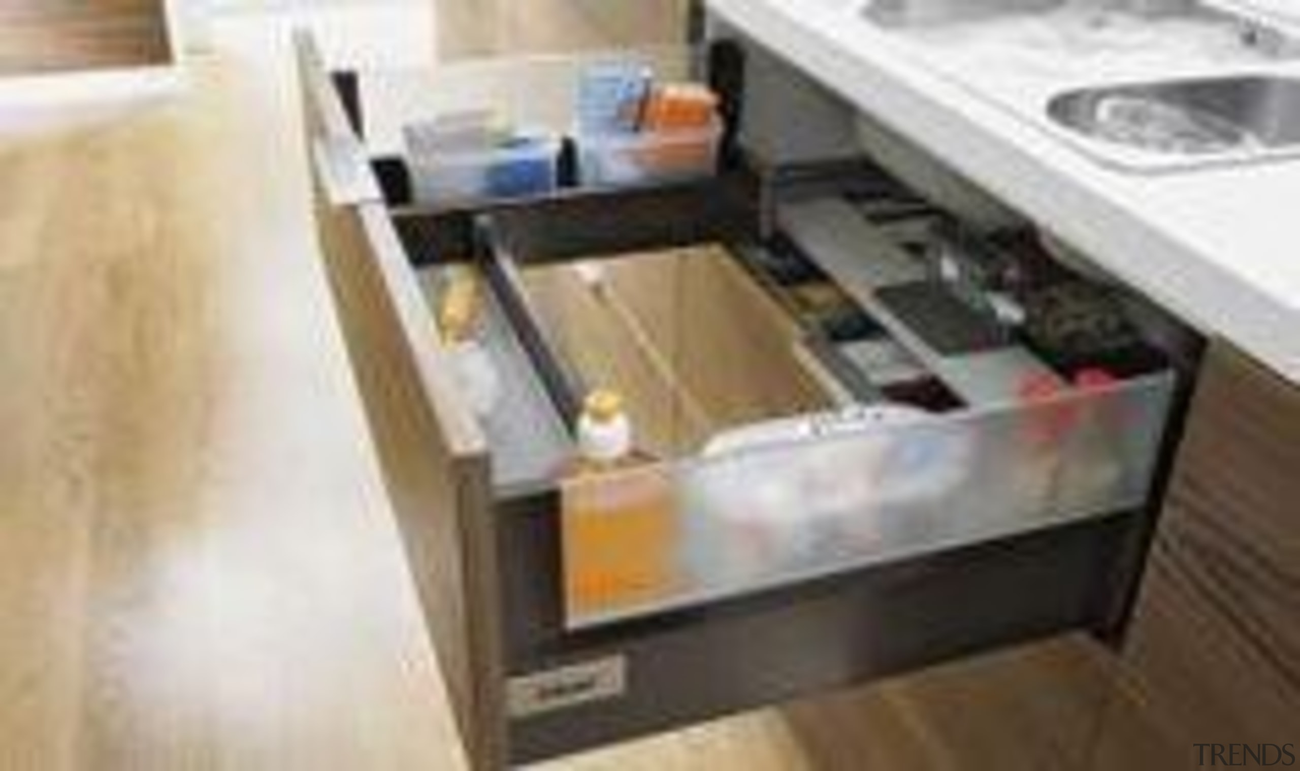 Waste no space in awkwardly shaped sink cupboards countertop, drawer, floor, furniture, kitchen, product, sink, table, white