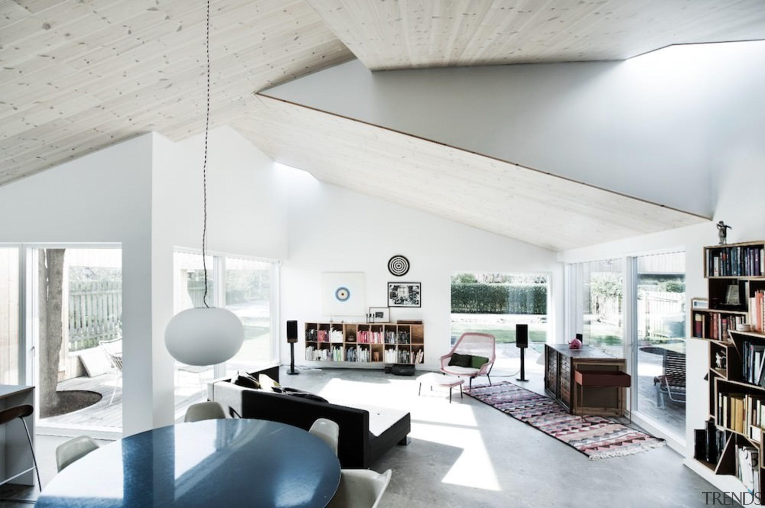 Architect: Sigured LarsenPhotography by Tia Borgsmidt architecture, ceiling, daylighting, house, interior design, living room, loft, white
