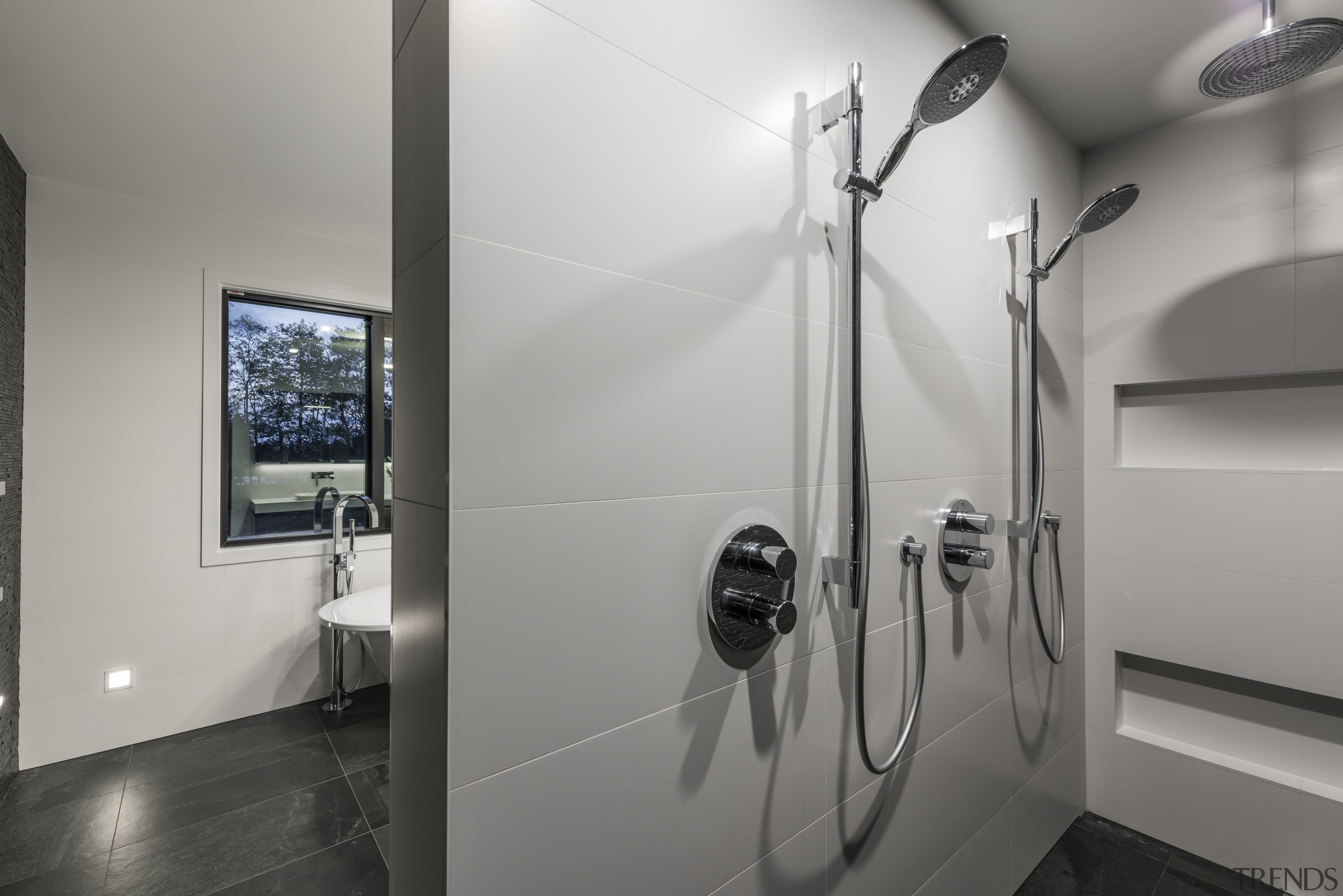 This bathrooms layout provides a clever use of architecture, bathroom, interior design, product design, tap, gray