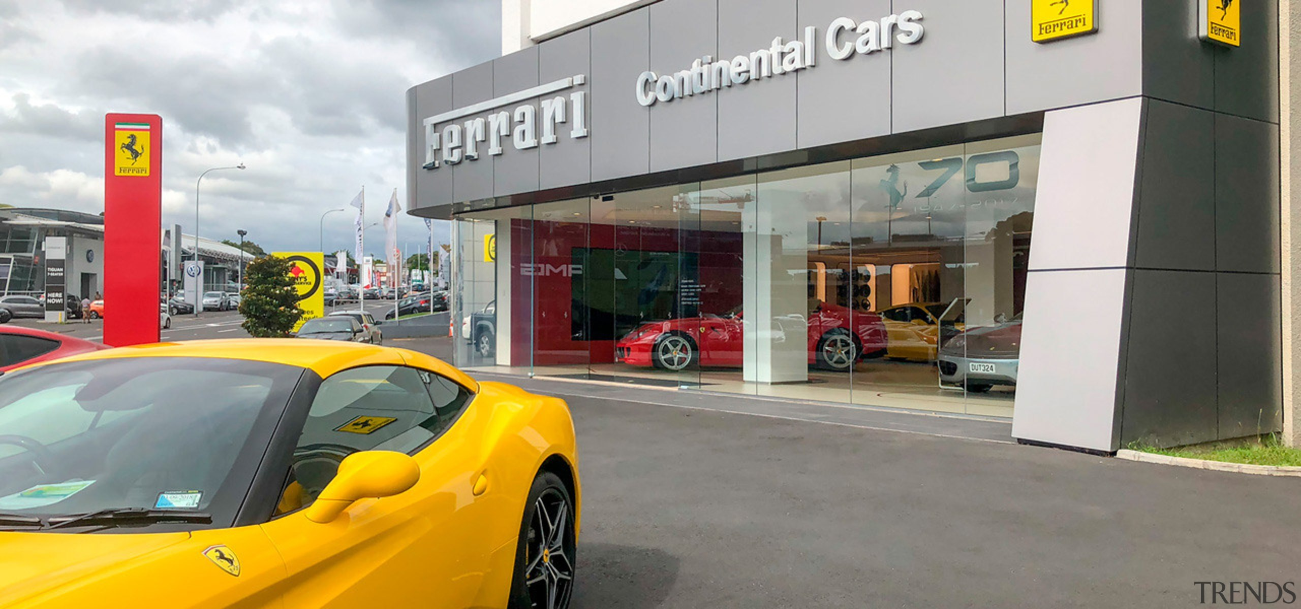 Ferrari Showroom 3 - automotive design | automotive automotive design, automotive wheel system, car, coupé, land vehicle, luxury vehicle, performance car, sports car, supercar, vehicle, wheel, yellow, gray