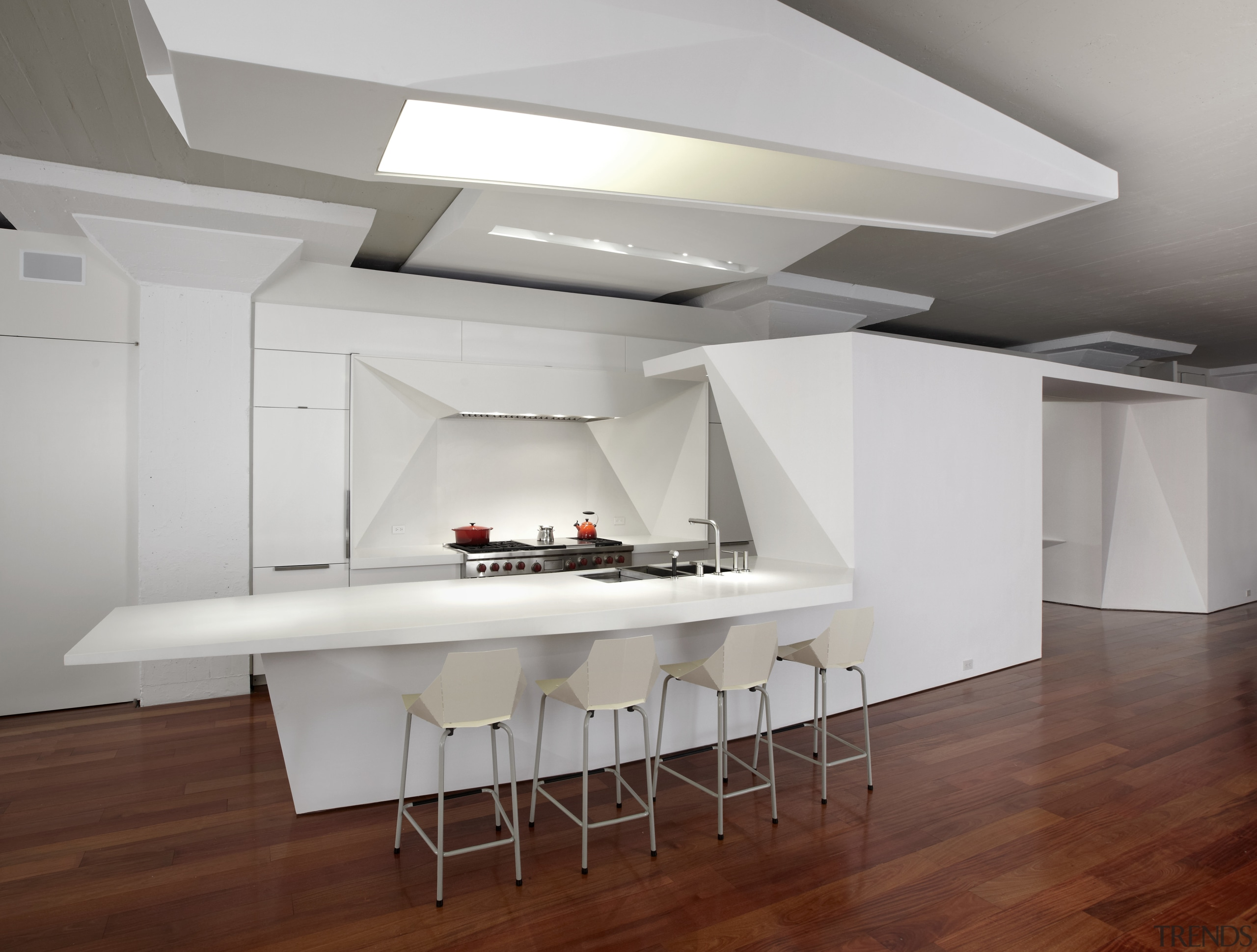 Here is a view of a kitchen designed architecture, ceiling, daylighting, floor, flooring, furniture, interior design, loft, product design, table, wood flooring, gray