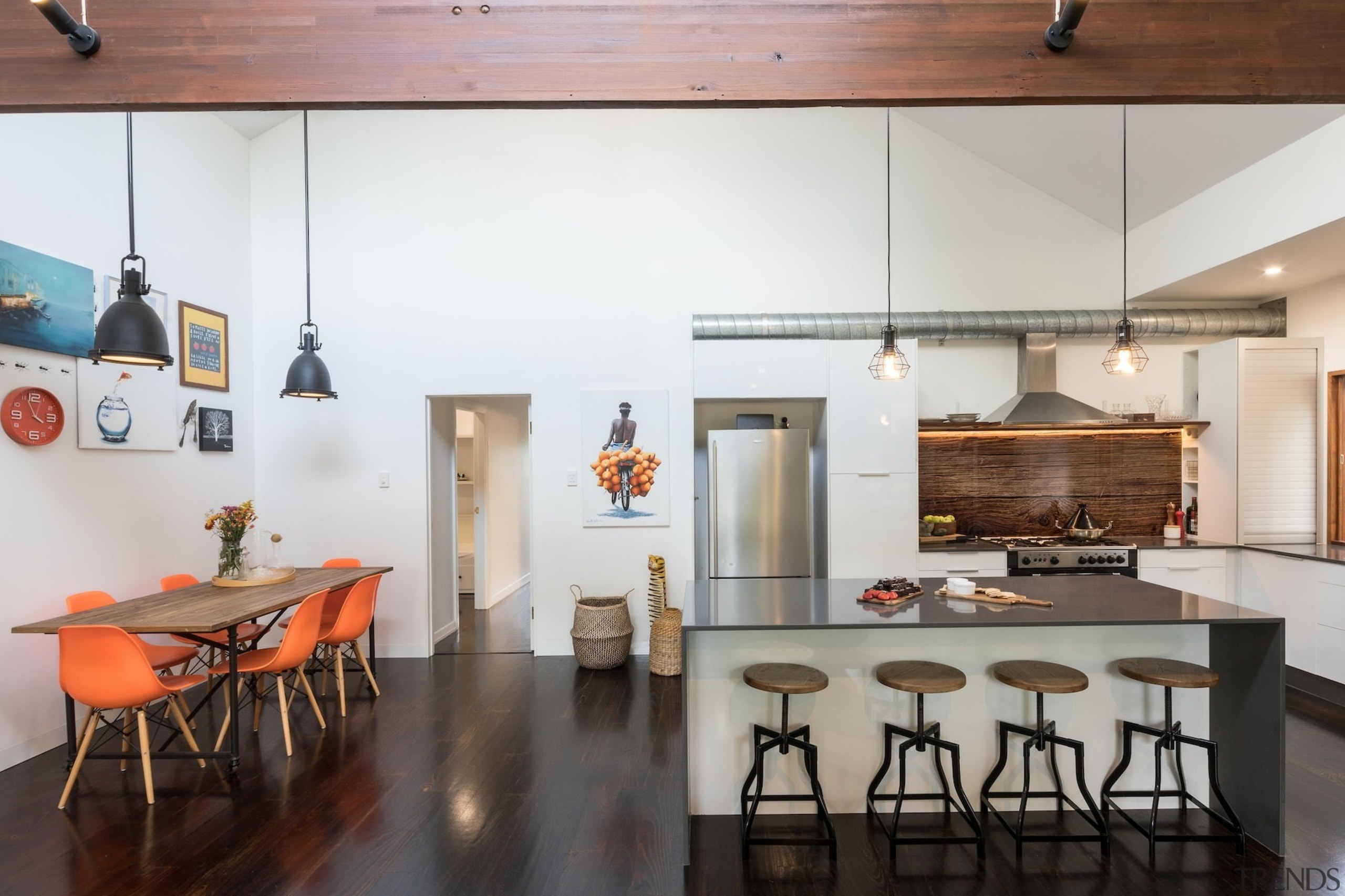 Architect: Blue Giraffe StudioPhotography by md photography architecture, ceiling, countertop, dining room, interior design, kitchen, loft, table, gray, white