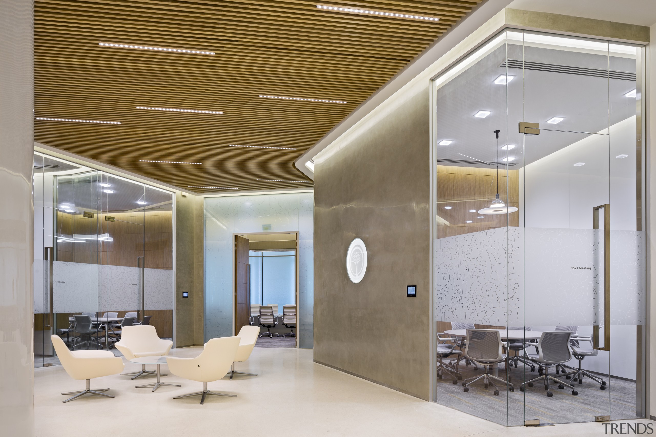 The lower level at the Procter & Gamble architecture, ceiling, daylighting, interior design, lobby, gray, brown