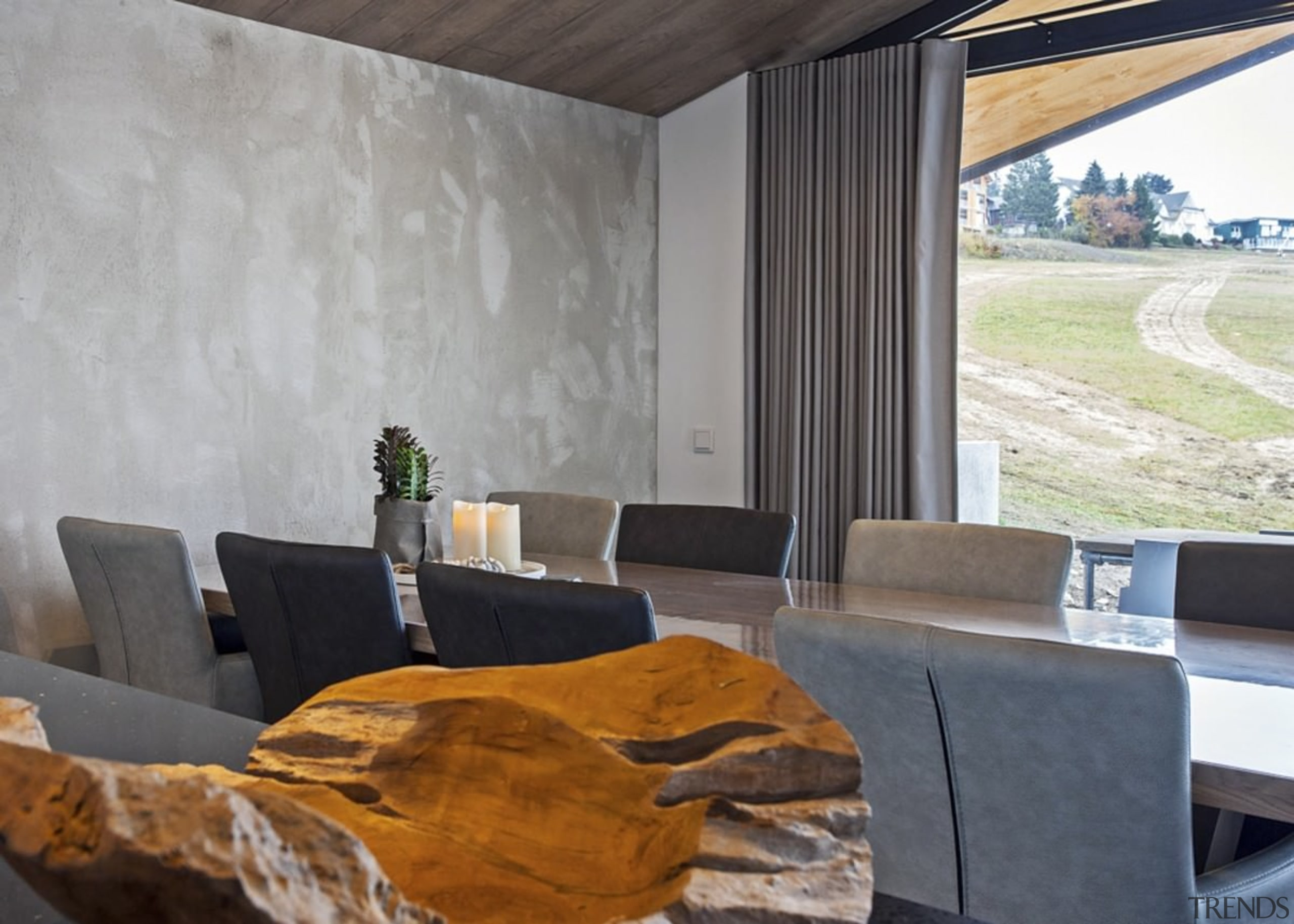 Concrete walls and wood ceilings - Concrete walls architecture, house, interior design, property, real estate, gray