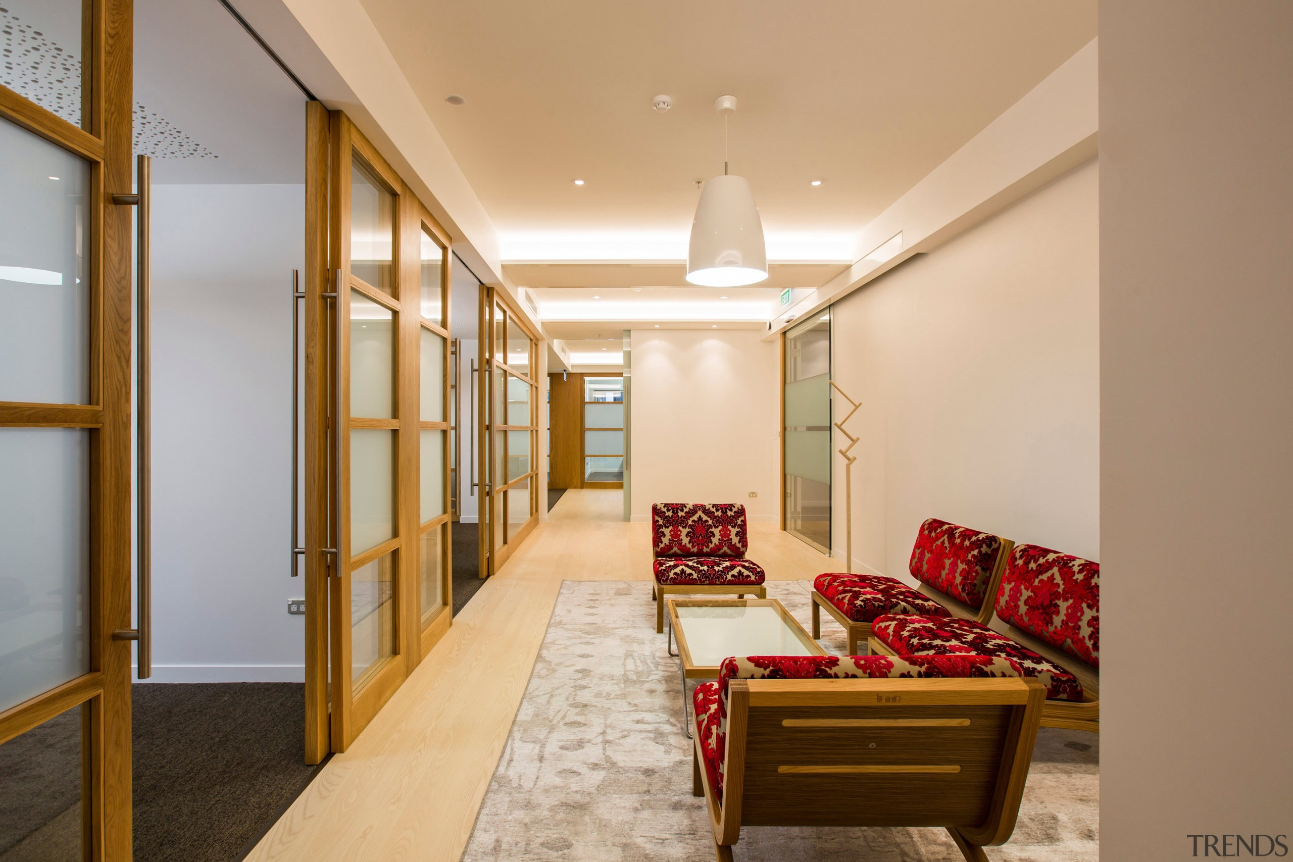 Our clients required a high quality fitout providing ceiling, interior design, living room, lobby, real estate, room, brown, orange, gray
