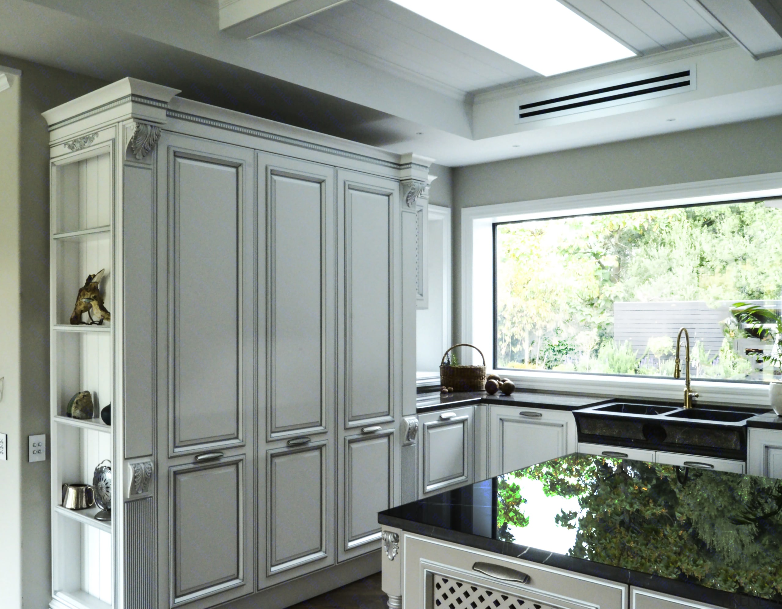 Trends] | While this large kitchen\'s panelled cabinet style is ...