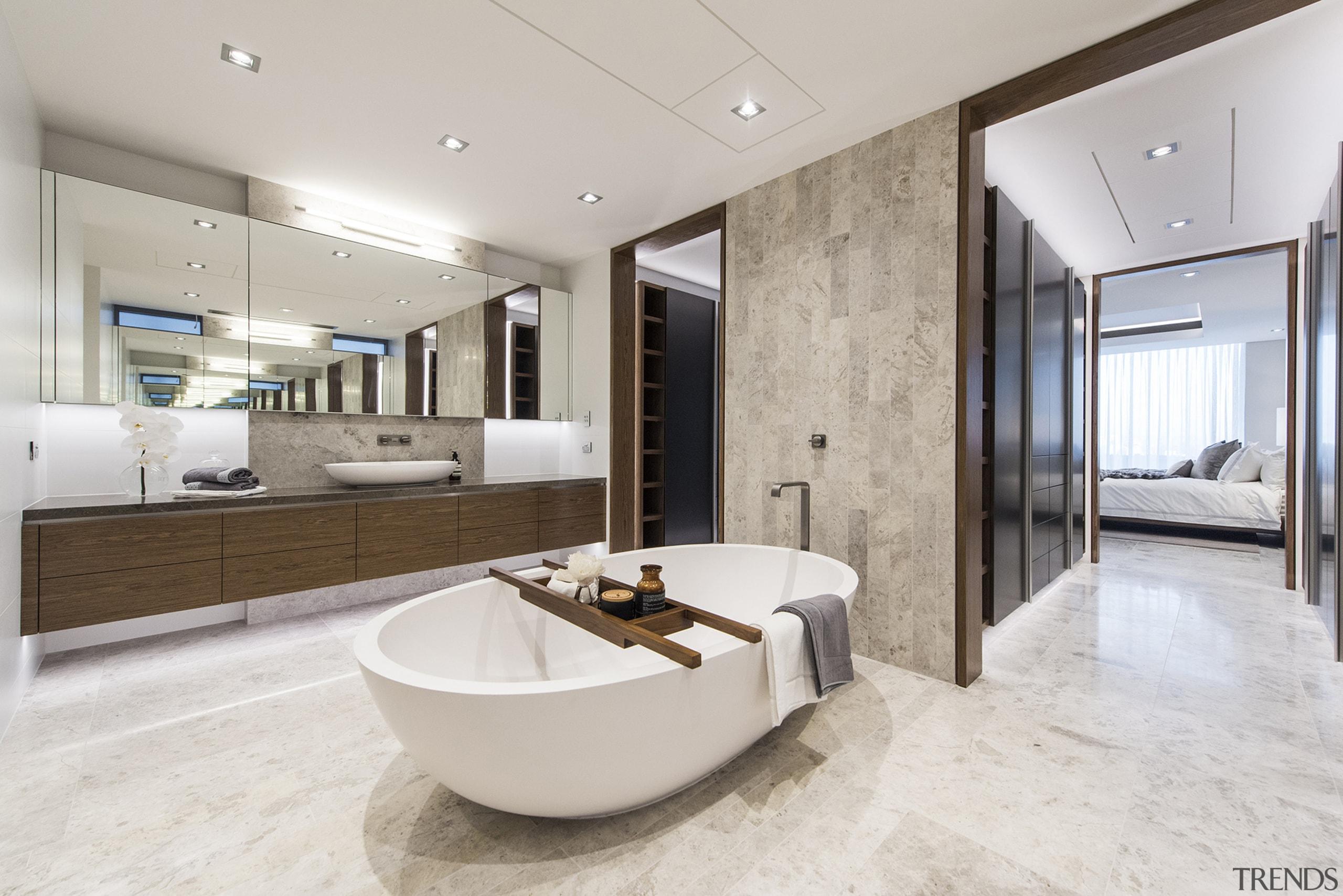 One master bedroom, one master bathroom – and floor, flooring, interior design, real estate, gray