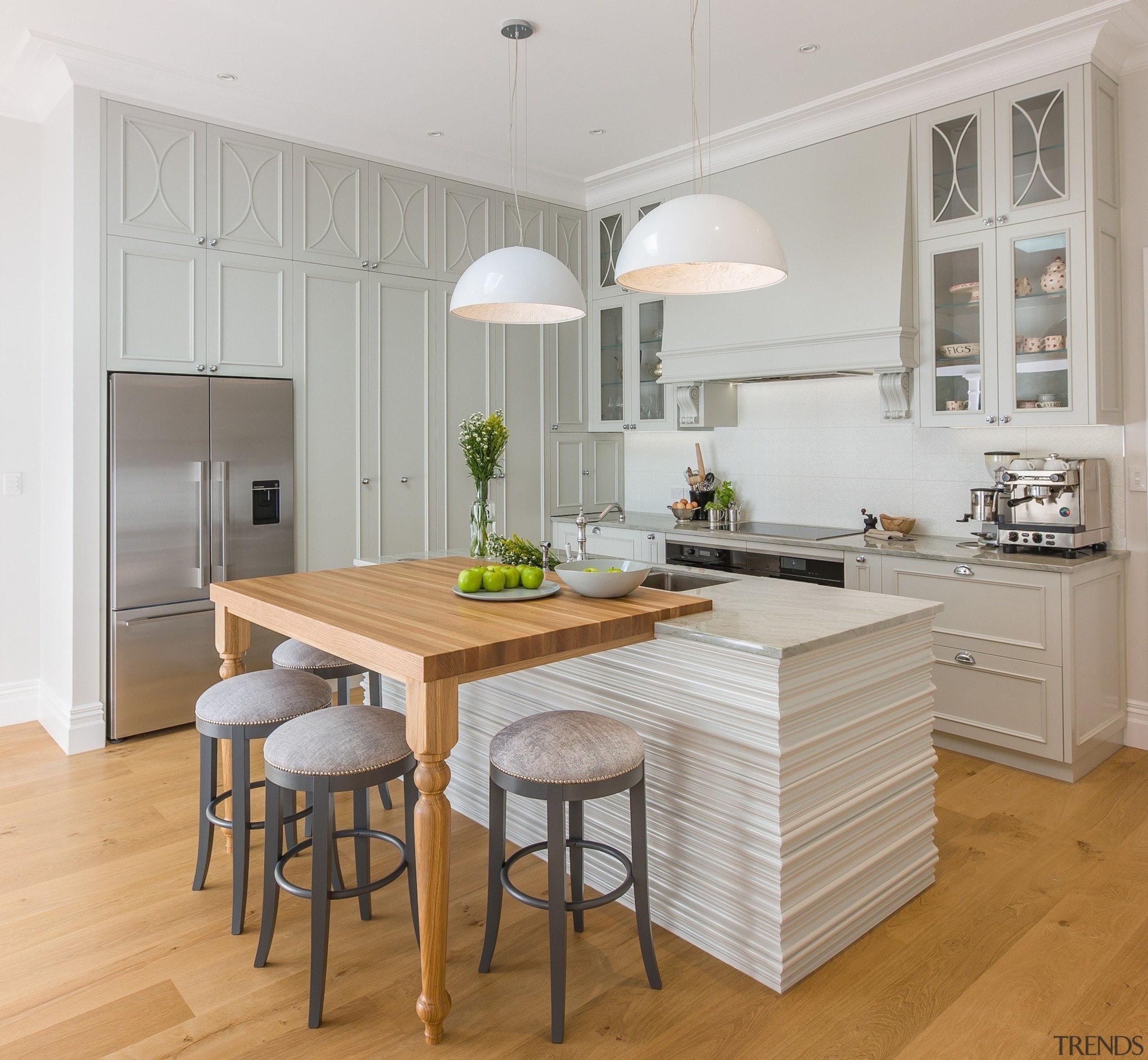 Du Bois Design – TIDA New Zealand cabinetry, countertop, cuisine classique, floor, flooring, furniture, interior design, kitchen, laminate flooring, room, table, wood flooring, gray