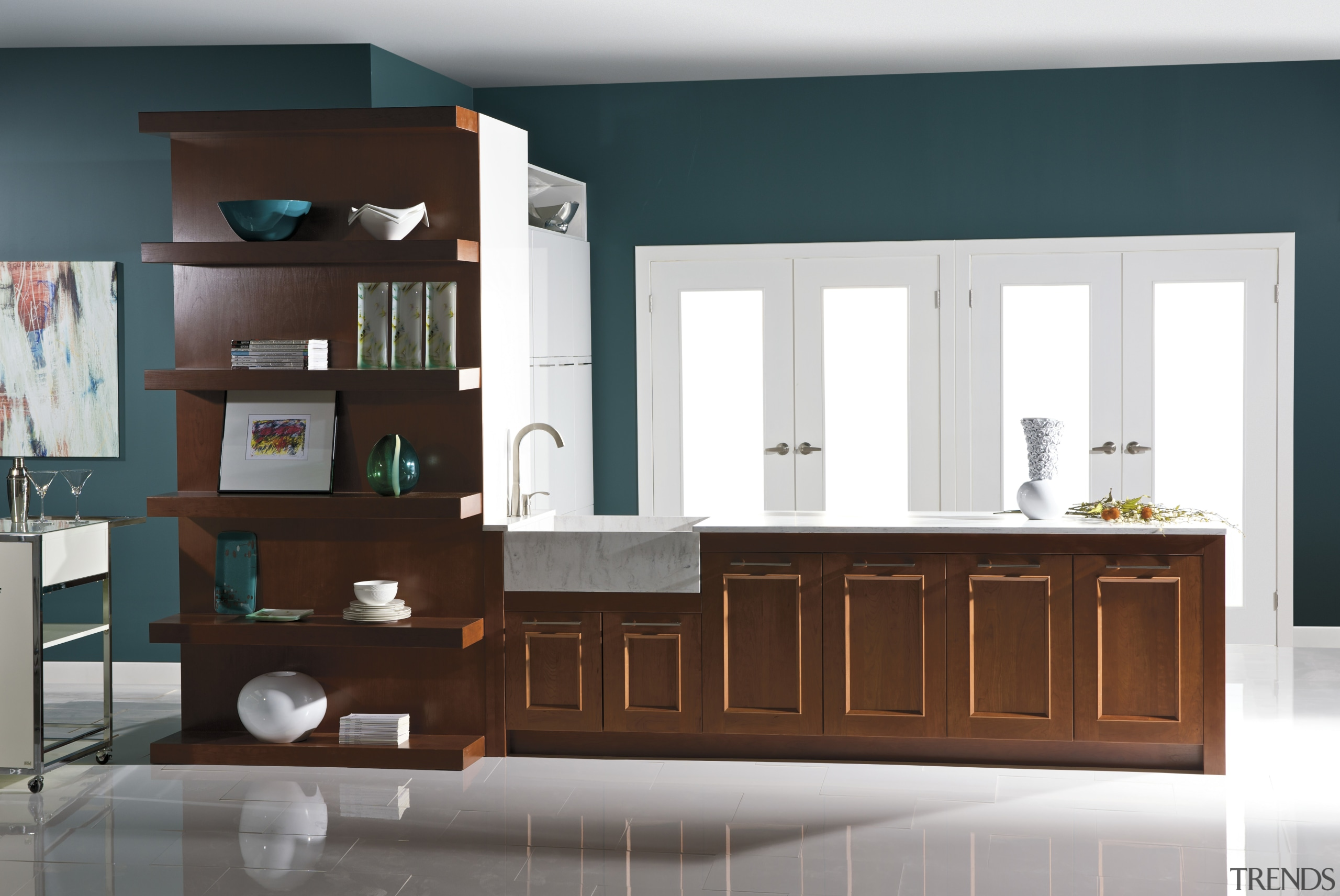 View of a kitchen which features cabinetry from cabinetry, chest of drawers, furniture, interior design, kitchen, product, product design, room, shelf, shelving, white