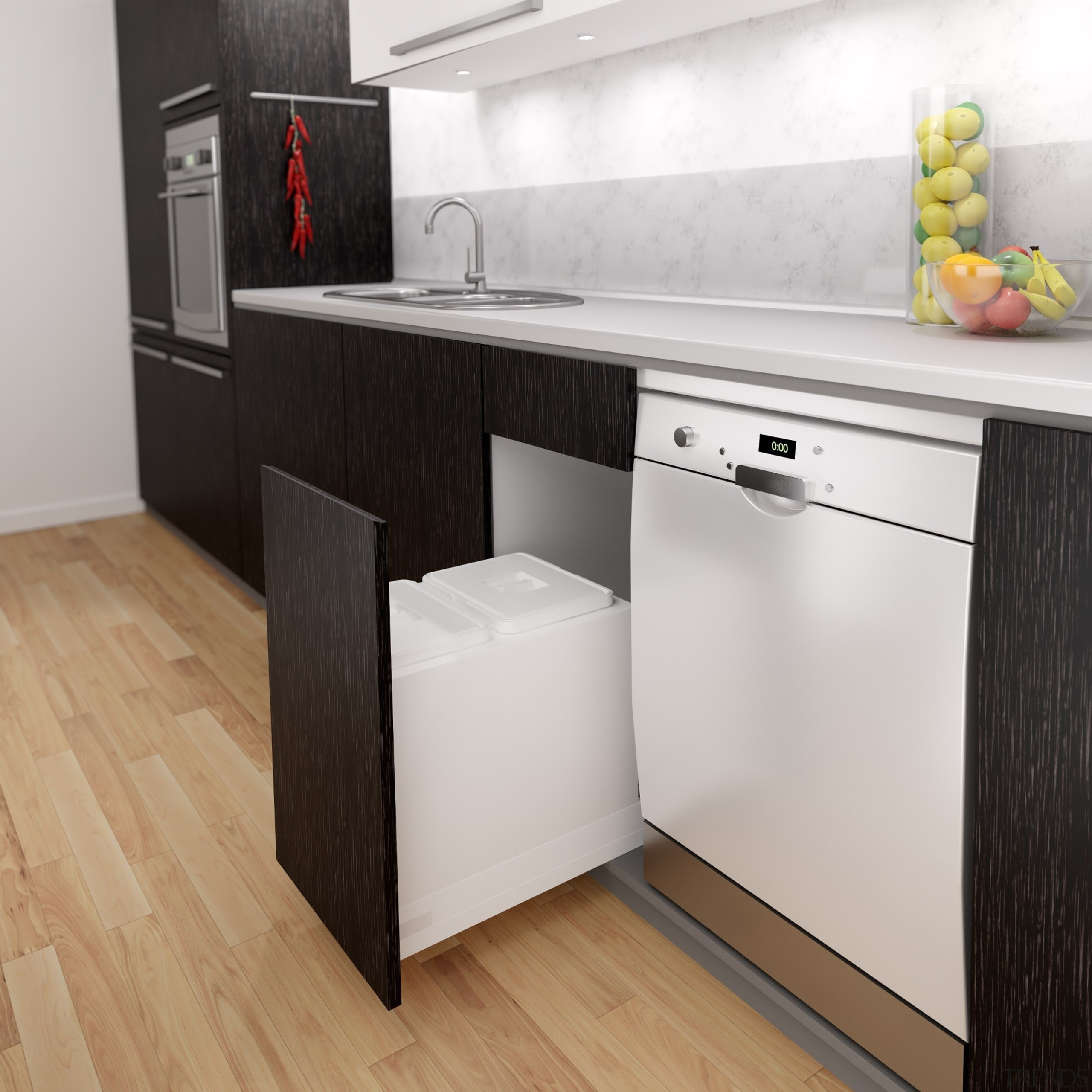 These Base Mounted Drawer Fitted Systems provide many cabinetry, countertop, floor, flooring, furniture, home appliance, interior design, kitchen, major appliance, product, white