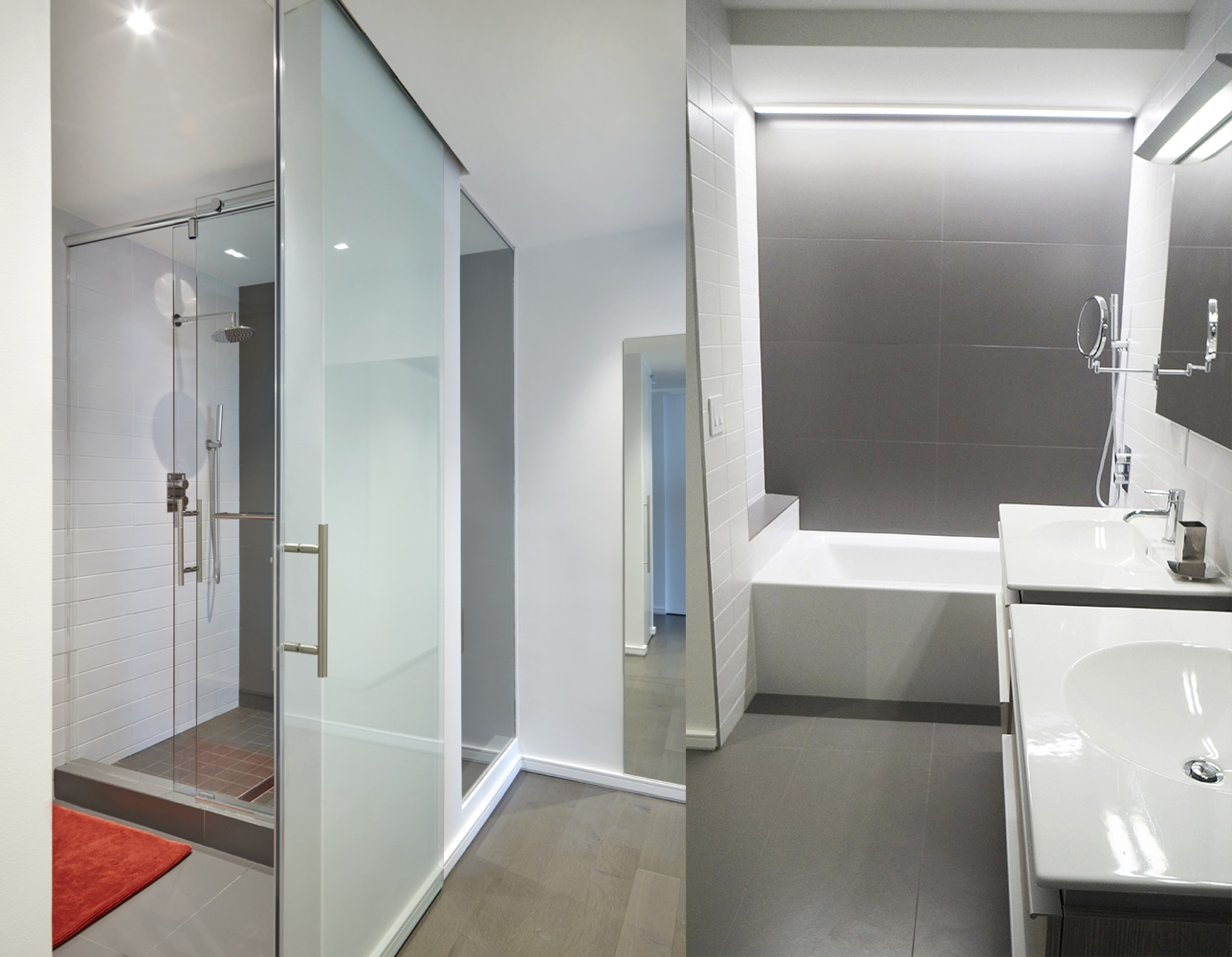After: Paring back the design helps the smaller aluminium, architecture, bathroom, building, ceiling, door, floor, flooring, glass, house, interior design, loft, material property, plumbing fixture, property, real estate, room, tile, toilet, wall, gray, white