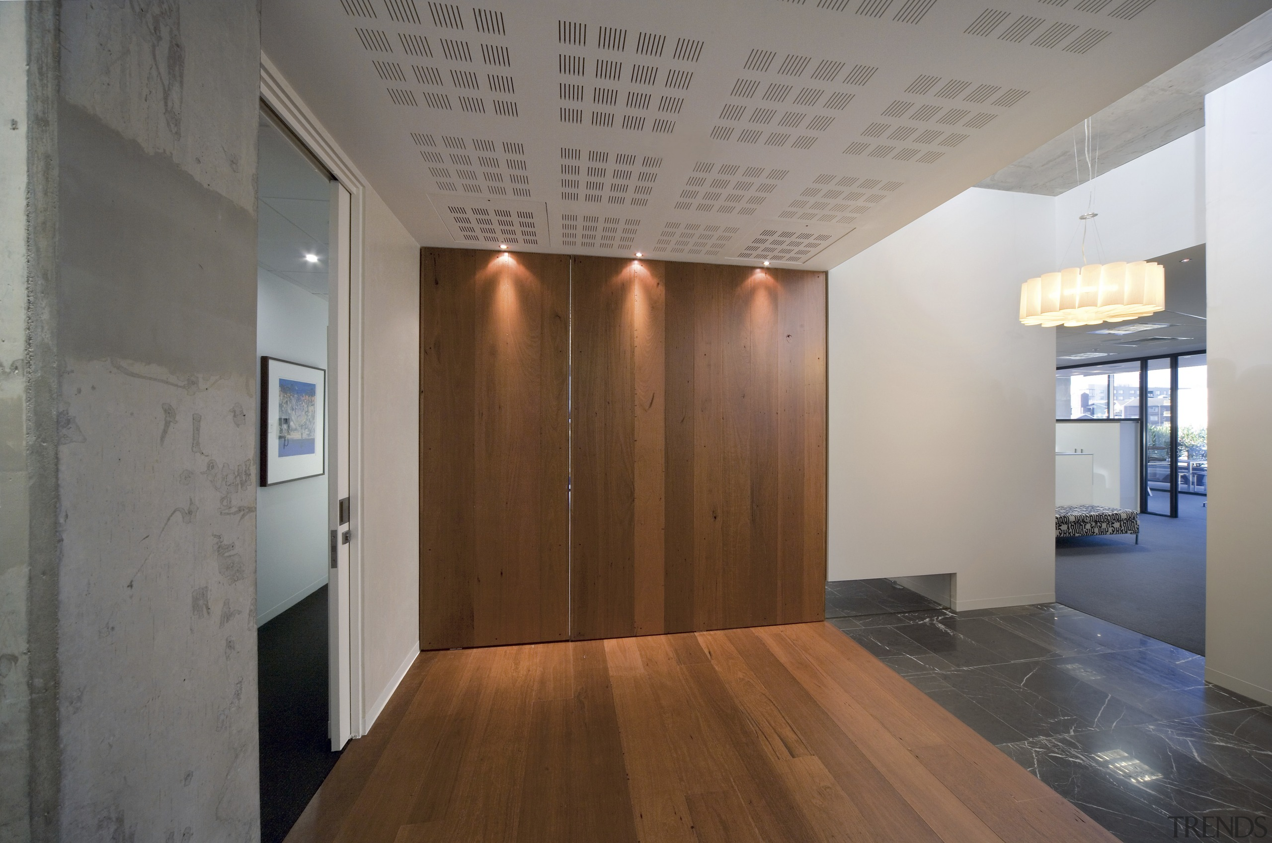 The cubic pattern on the fabric panels in ceiling, floor, flooring, hardwood, interior design, real estate, wood, wood flooring, gray, brown