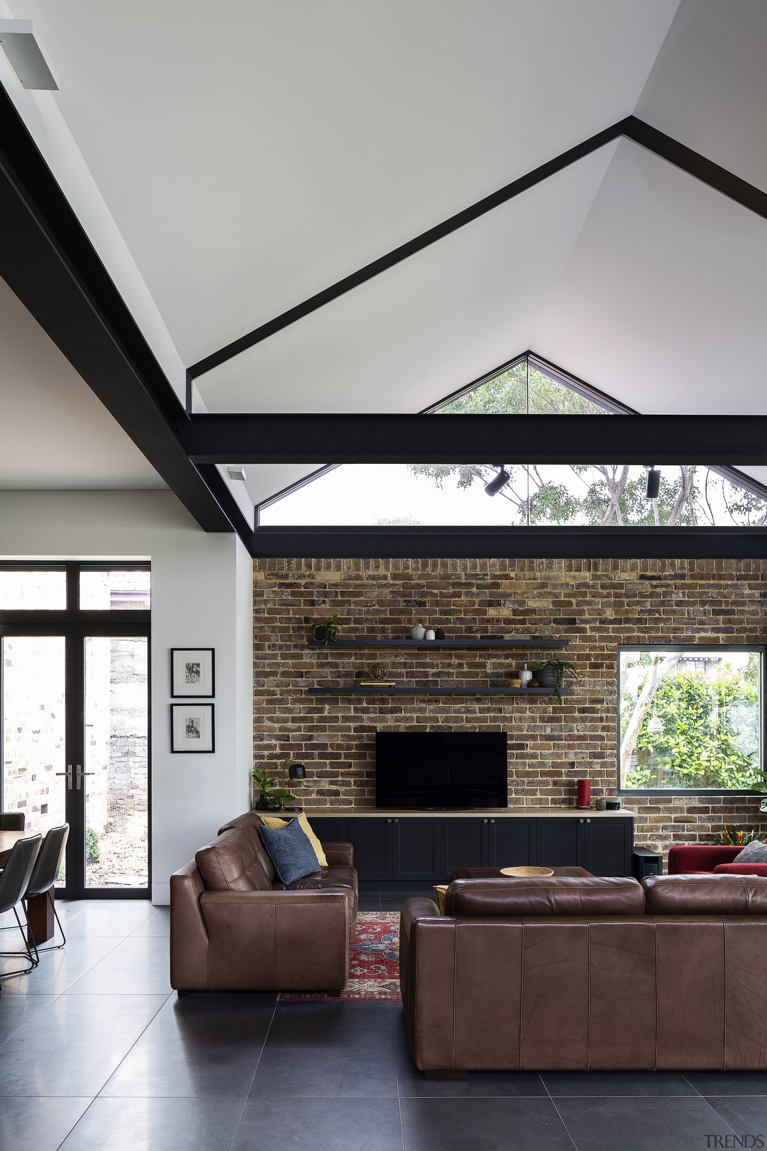 Glass ends to the gabled roof let in
