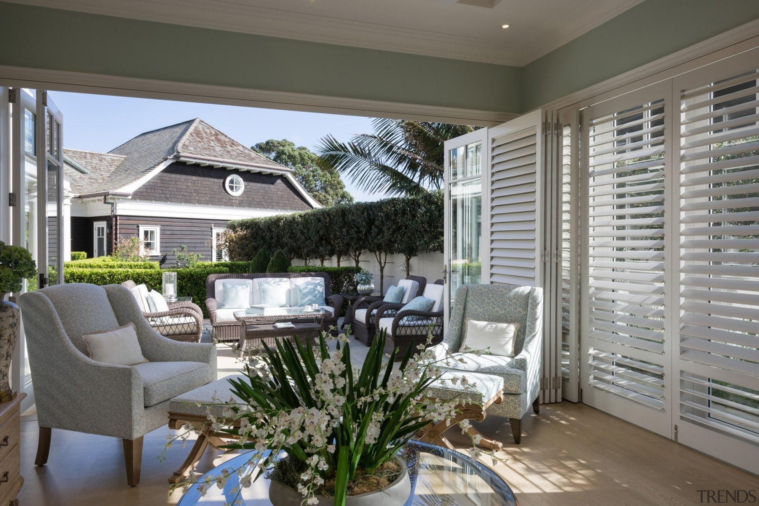 Living area - Living area - backyard | backyard, estate, home, house, interior design, living room, outdoor structure, patio, porch, real estate, window, window covering, window treatment, gray