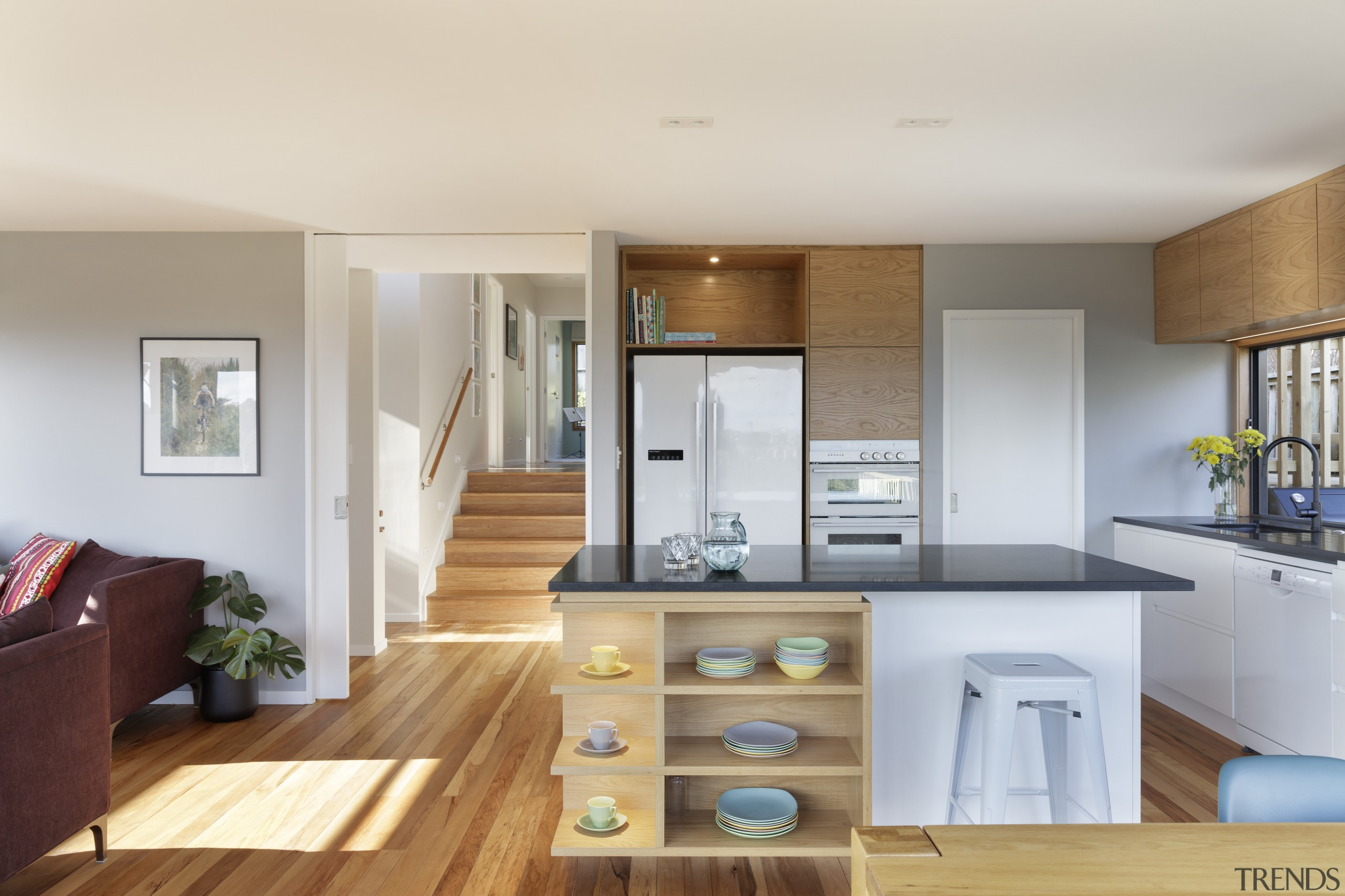 Clean and crisp, this substantial interior revamp of interior design, kitchen, living room, colour,  paint, Resene