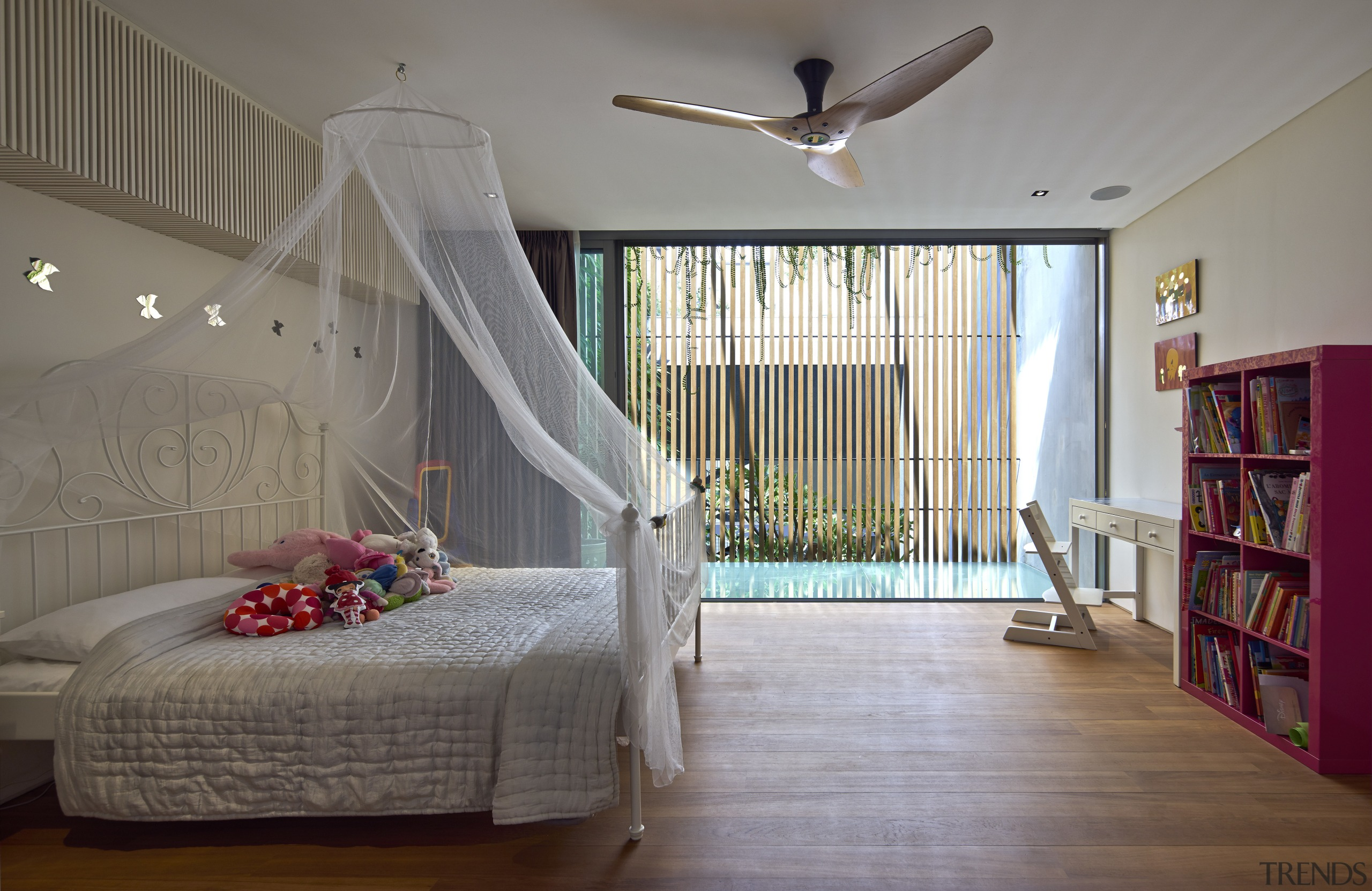 A balcony with a wooden screen softens the architecture, bedroom, ceiling, daylighting, estate, floor, flooring, home, house, interior design, living room, property, real estate, room, wall, window, wood, gray