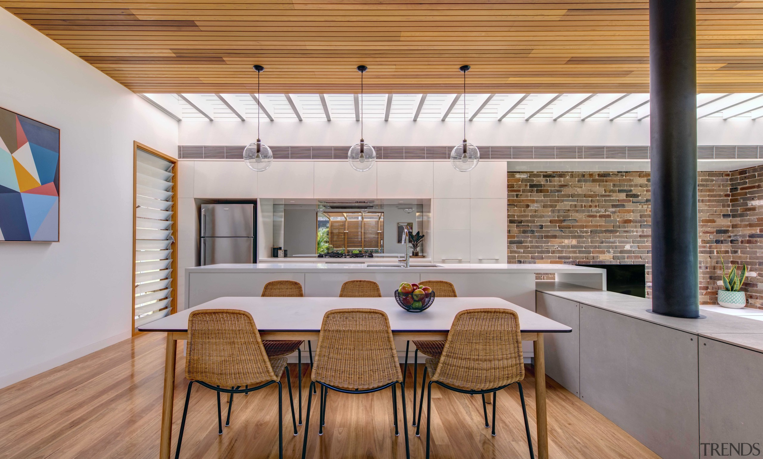 Space and light  louvred shutters, glass walls architecture, ceiling, daylighting, dining room, house, interior design, real estate, table