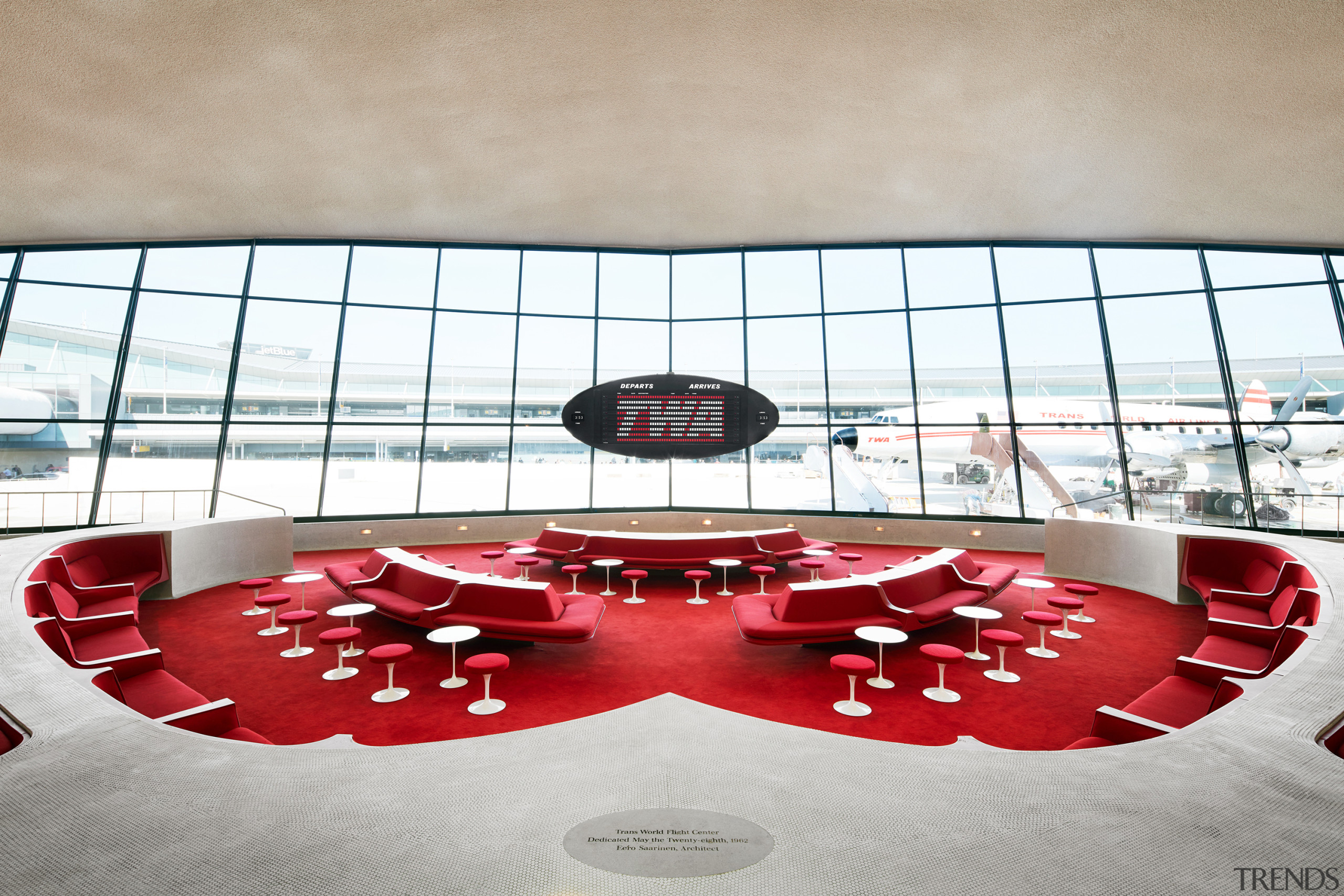 The Sunken Lounge at the TWA Hotel features architecture, Sunken Lounge, TWA Hotel