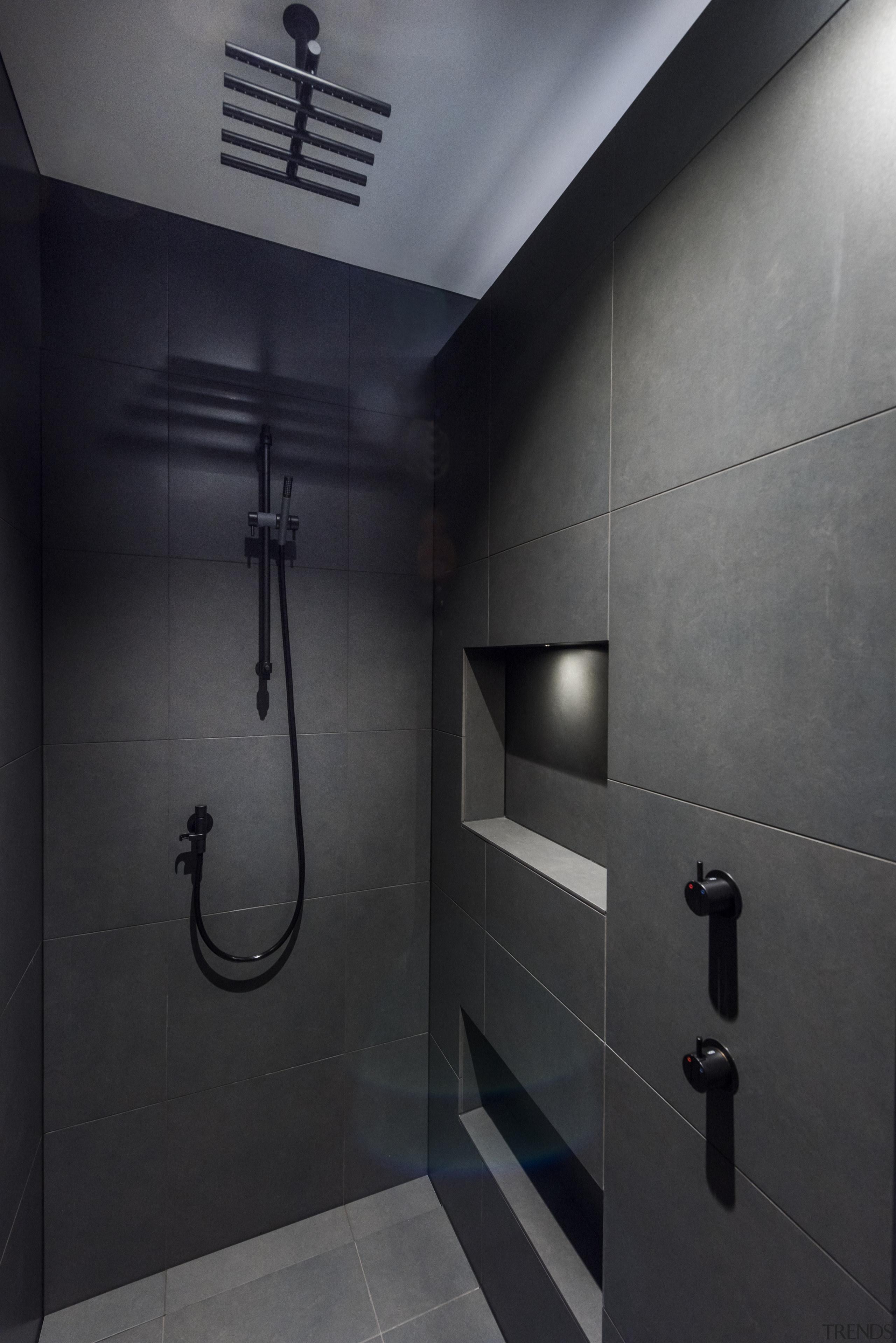 Black fittings all but disappear against the matt architecture, bathroom, black fittings, interior design, plumbing fixture, walk in shower, davinia sutton
