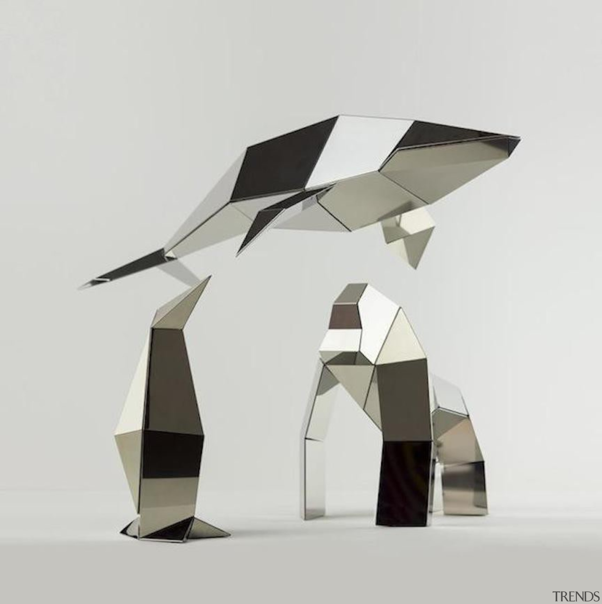 Poligon is a collection of foldable metallic sculptures furniture, product design, table, white