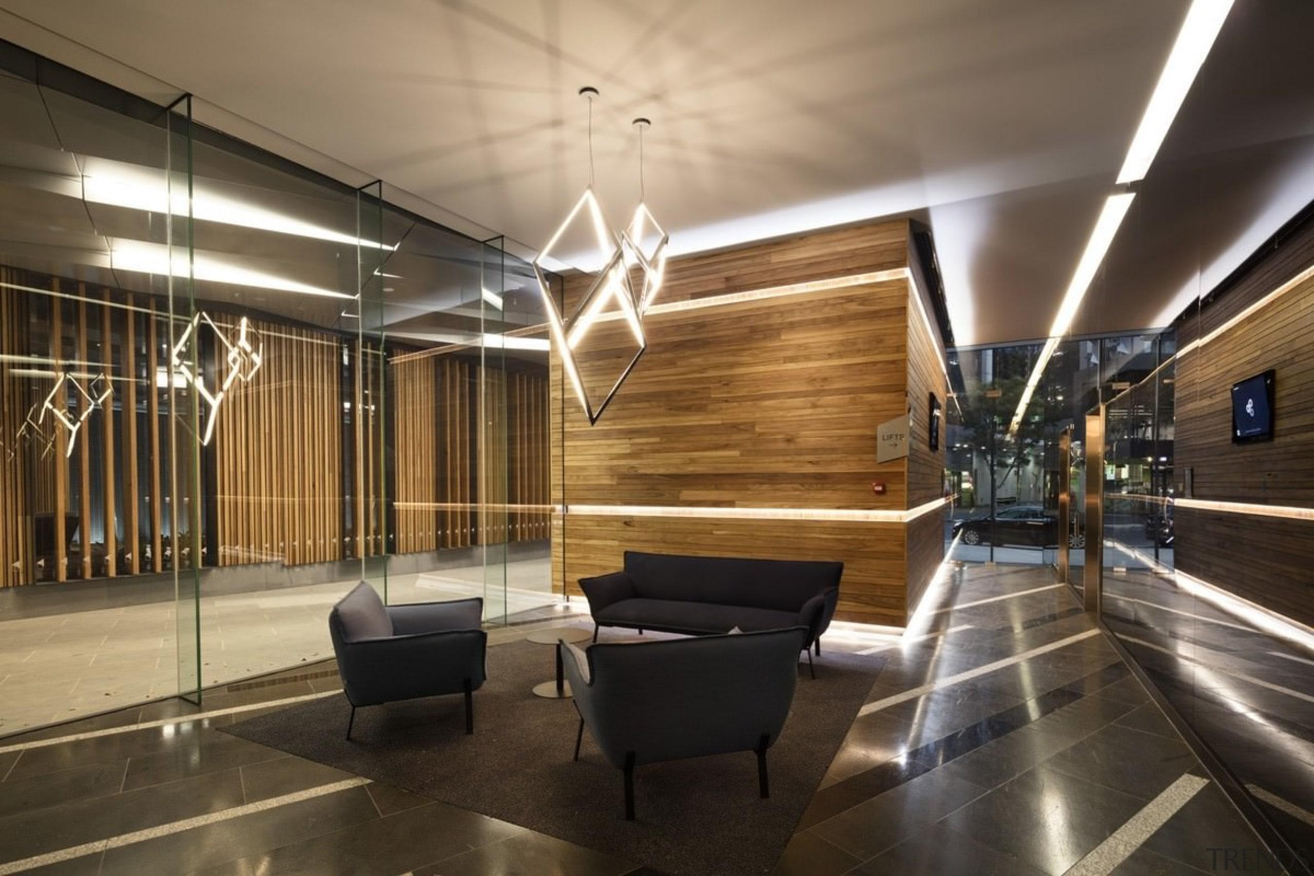Promenade Aqui by Woods Bagot - Promenade Aqui architecture, ceiling, floor, flooring, interior design, lobby, black, brown