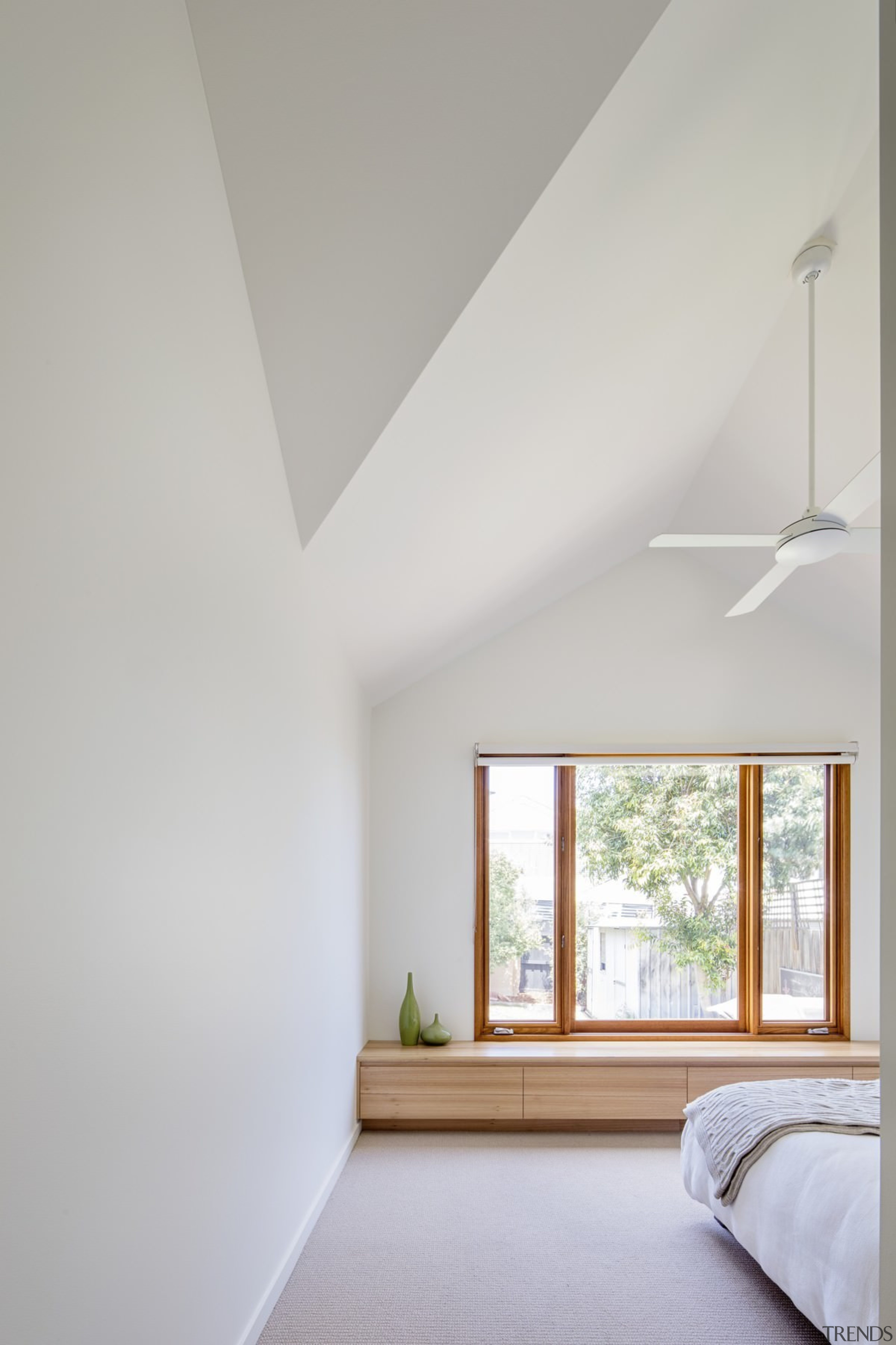 A window seat/bench is ideal for afternoon reading architecture, ceiling, daylighting, floor, home, house, interior design, real estate, room, window, wood, gray