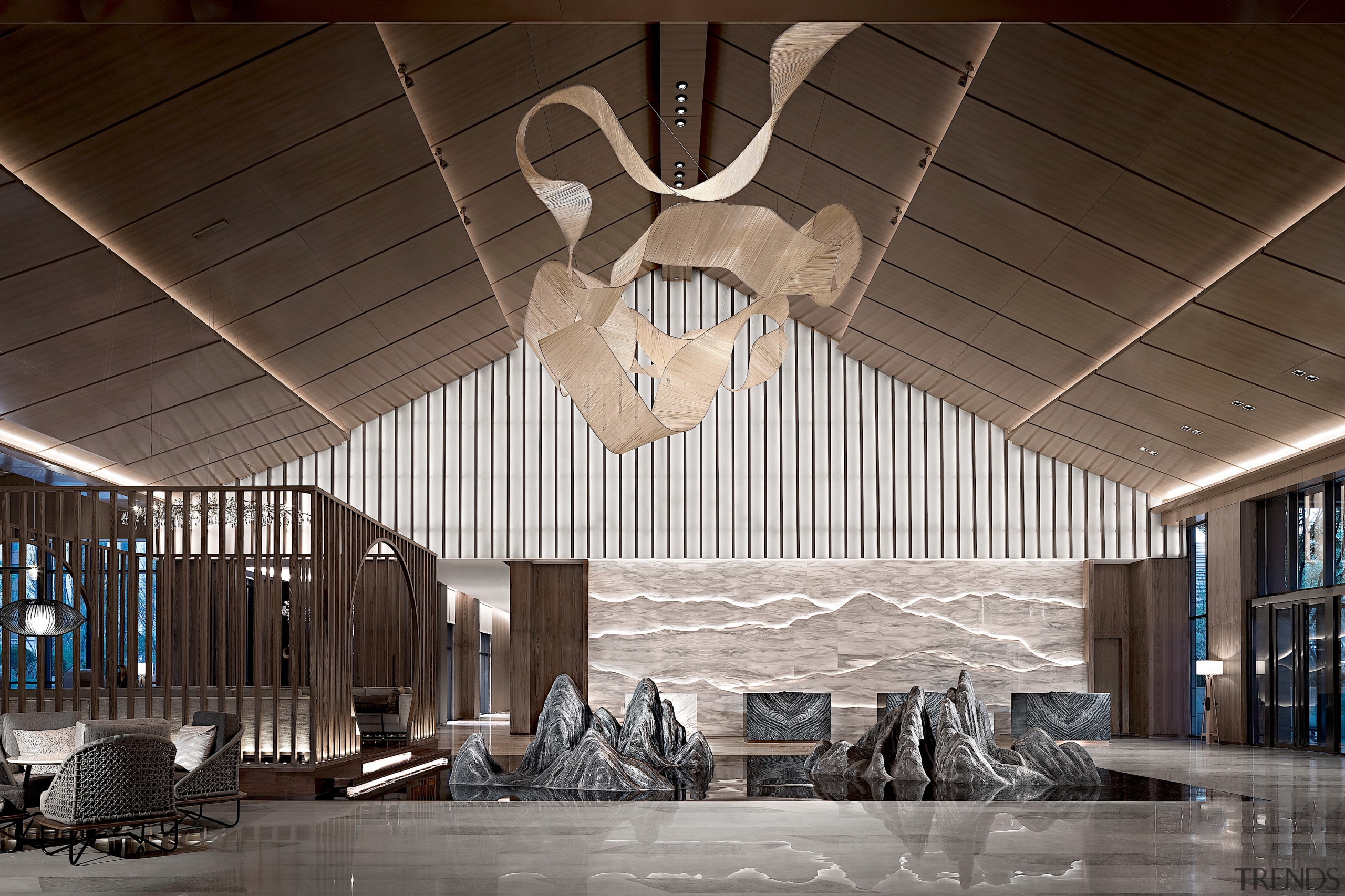 The lobby design is inspired by the local
