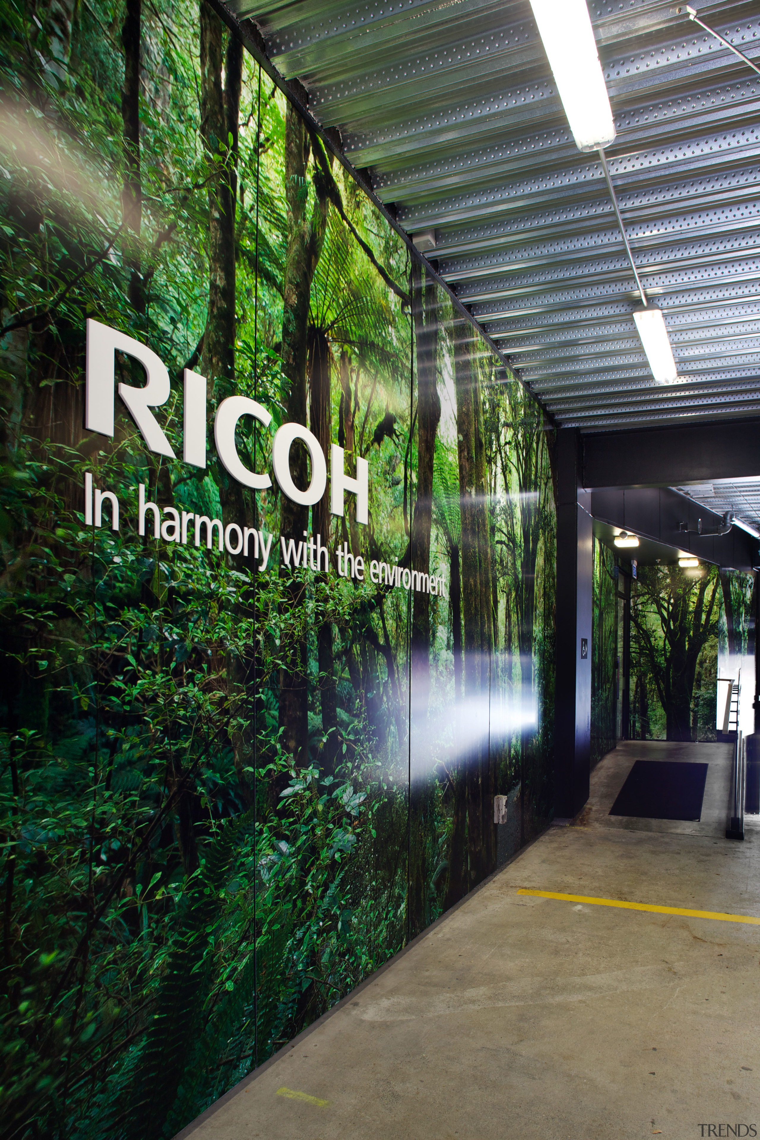 Sustainability is a key focus for Ricoh. This architecture, grass, green, real estate, tree, black