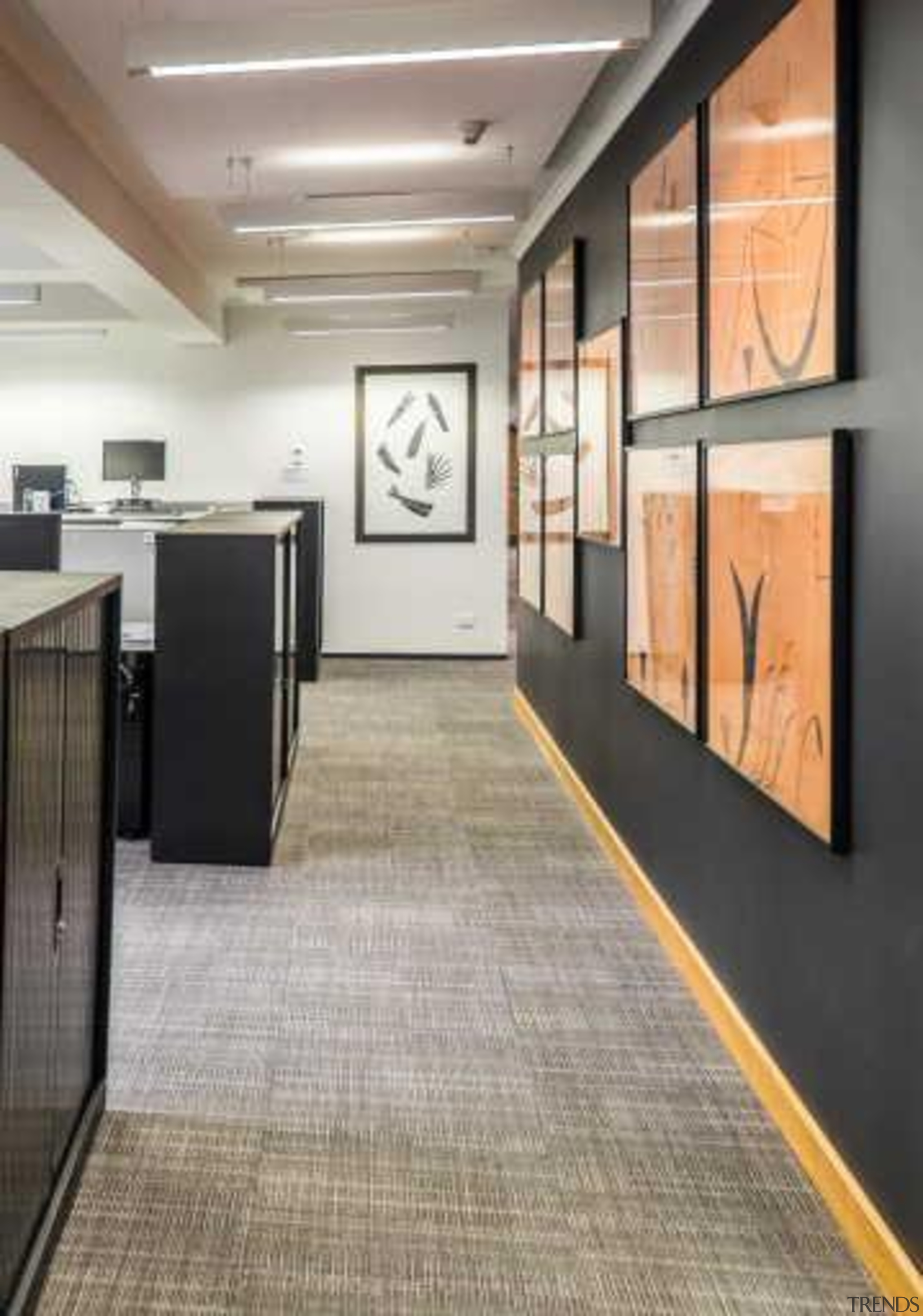 "New acoustic walls were also built ""Wavebar heavy ceiling, floor, flooring, interior design, lobby, tile, wood flooring, gray"