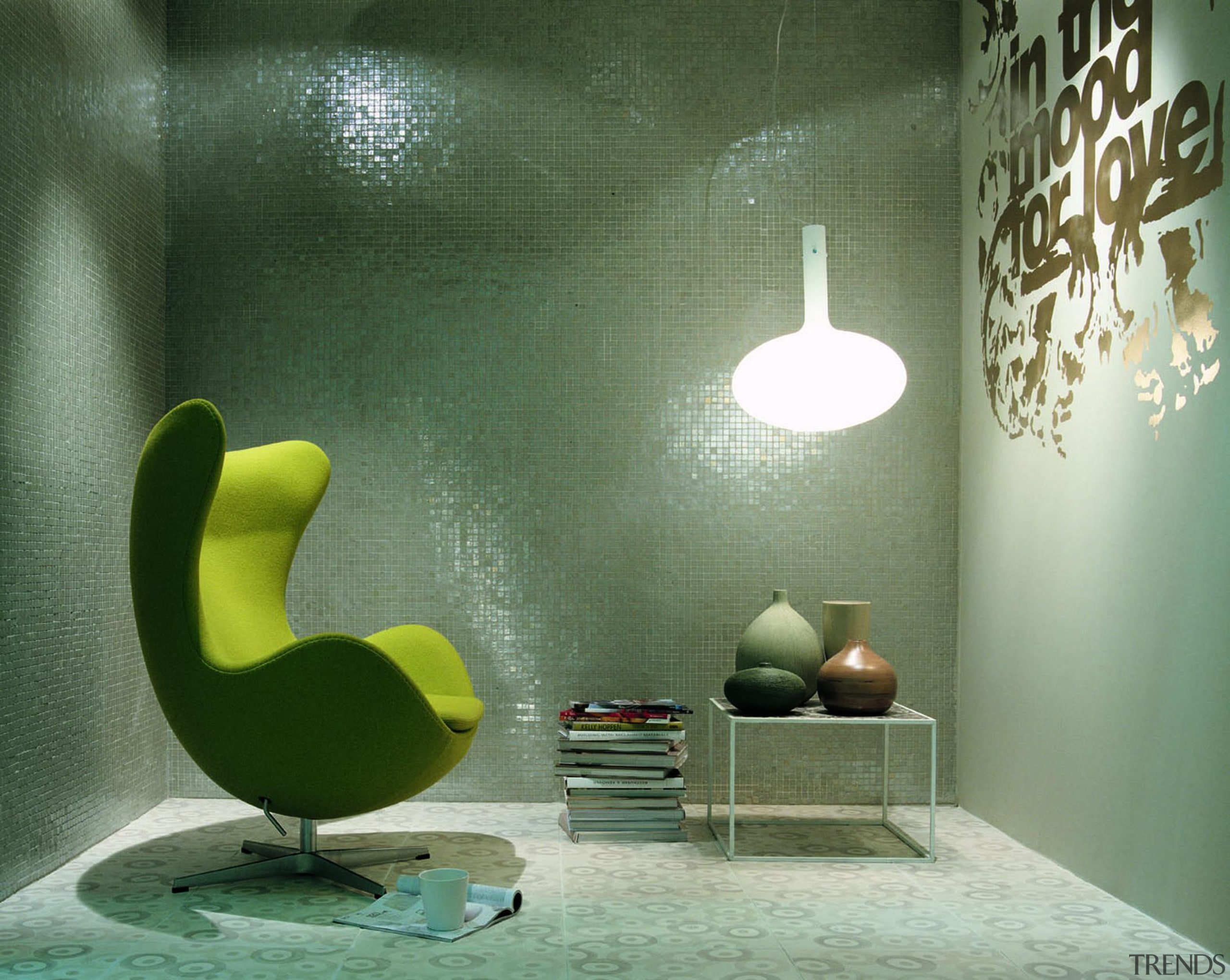 vetro silver lux wall mosaic ceiling, chair, floor, furniture, green, interior design, lighting, product design, table, wall, wallpaper, green