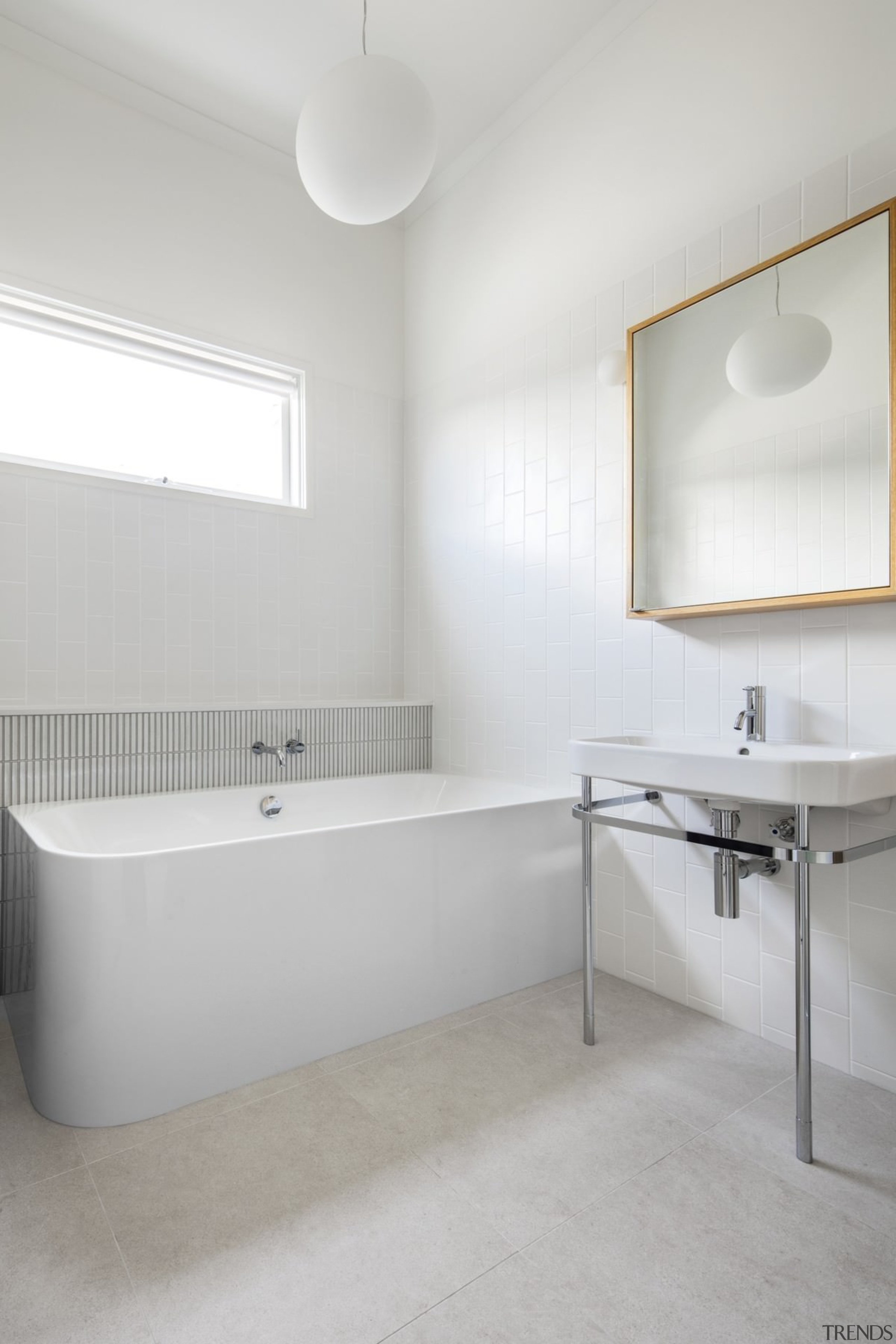 The bathroom features a globe light and simple, architecture, bathroom, bathroom sink, floor, interior design, plumbing fixture, product design, room, sink, tap, tile, wall, gray