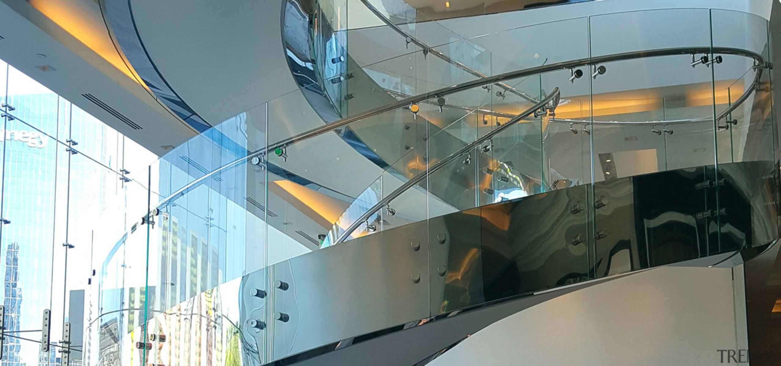 Rolls Royce Houston 3 - architecture | building architecture, building, ceiling, daylighting, design, glass, handrail, interior design, metal, stairs, transparent material, gray