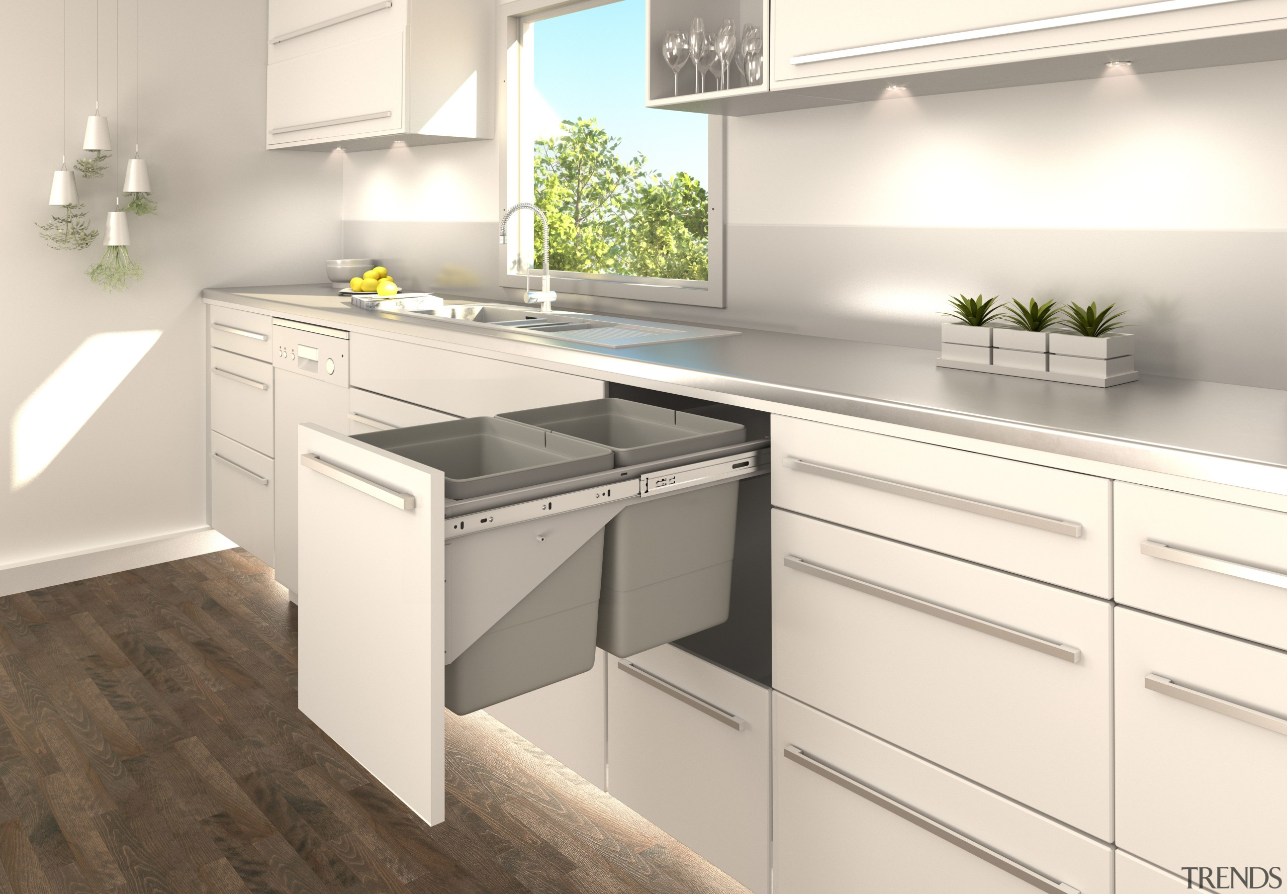 The discrete Tanova systems operate on strong, fully cabinetry, countertop, cuisine classique, interior design, kitchen, product design, white