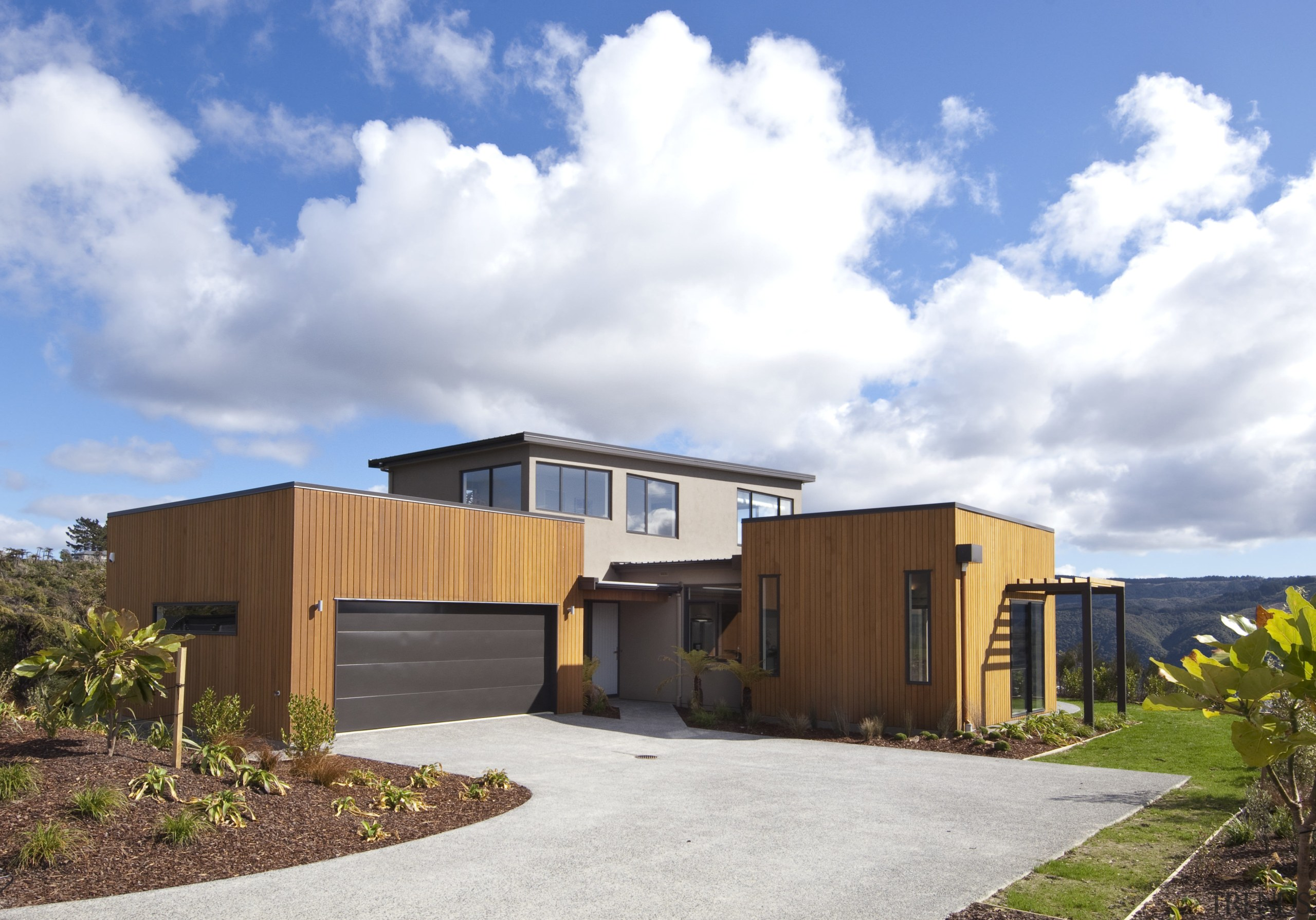 This Upper Hutt Show home was designed and architecture, elevation, facade, home, house, property, real estate, residential area, sky, white