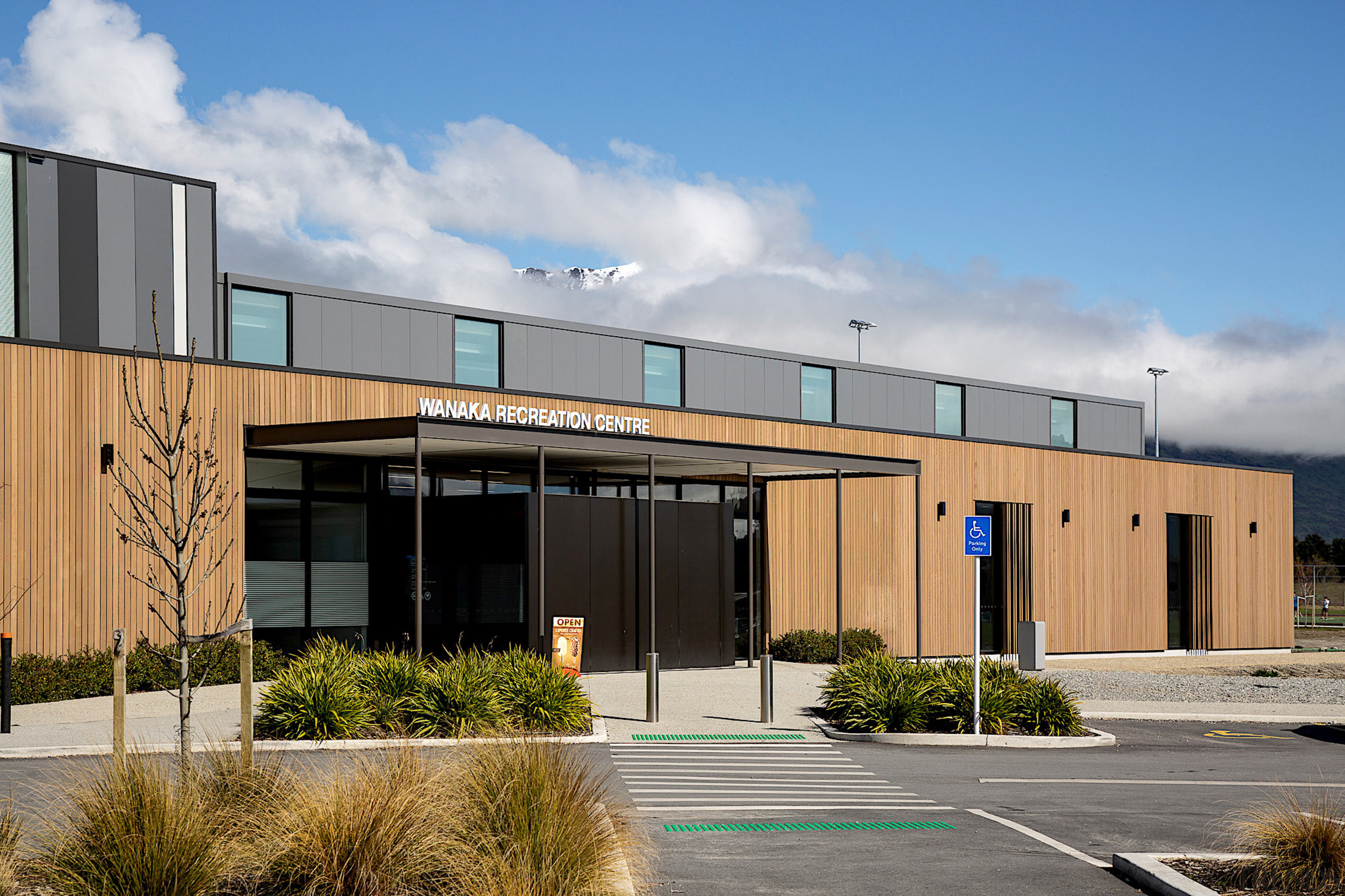 Wanaka Recreation Centre aquatic complex features the extensive gray