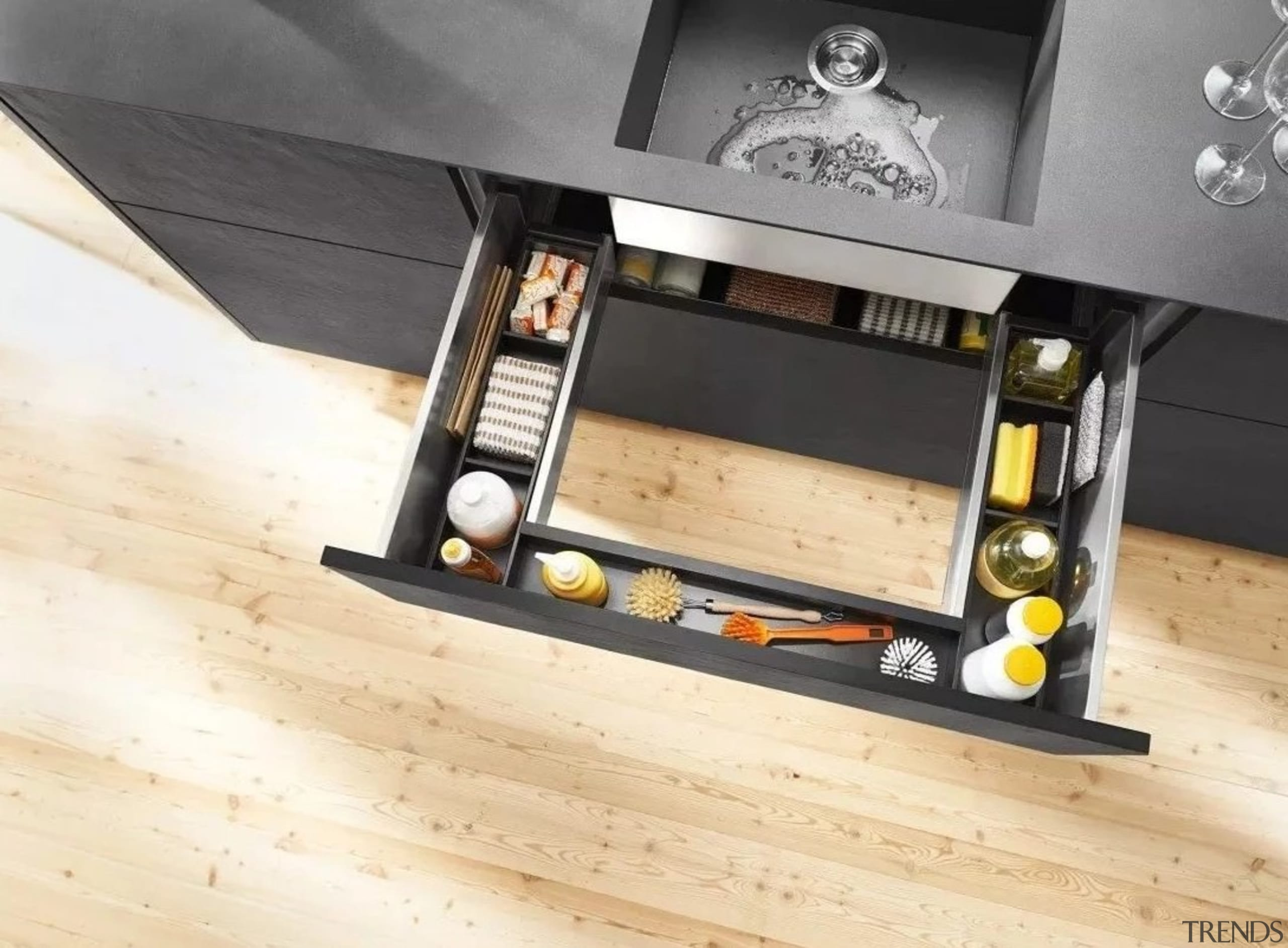 Image from: Blum New Zealand floor, flooring, furniture, product design, table, wood, yellow