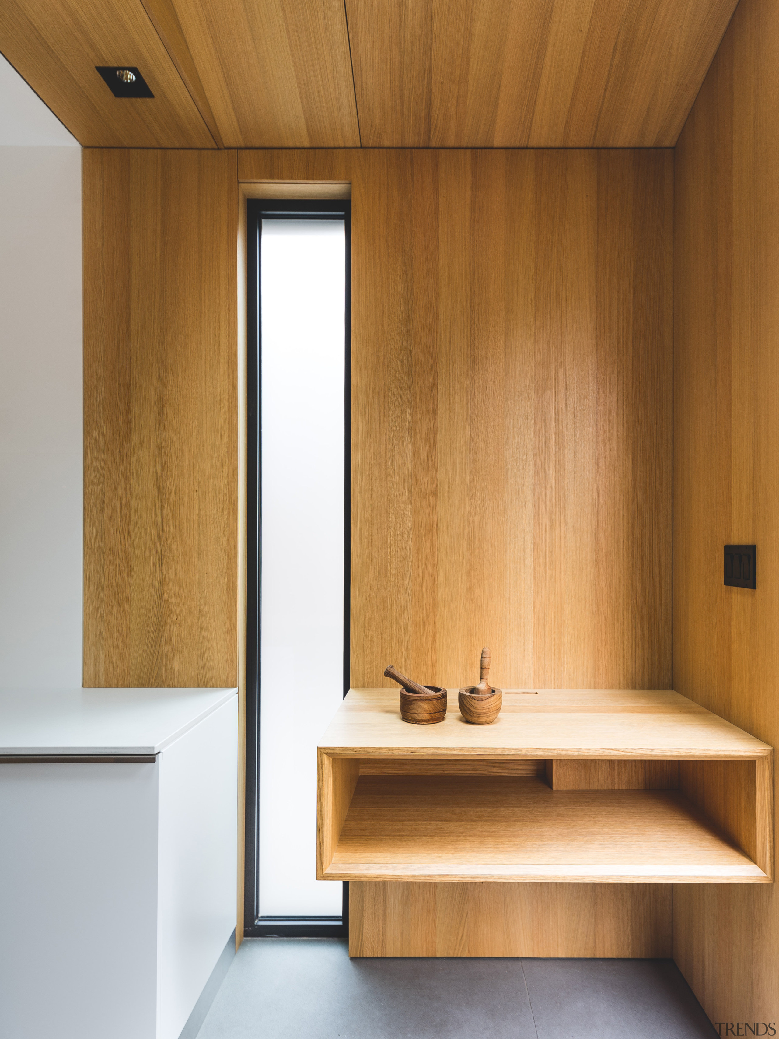 Finely detailed  simple oak shelving on an architecture, ceiling, floor, furniture, hardwood, interior design, plywood, product design, wall, wood, brown, white