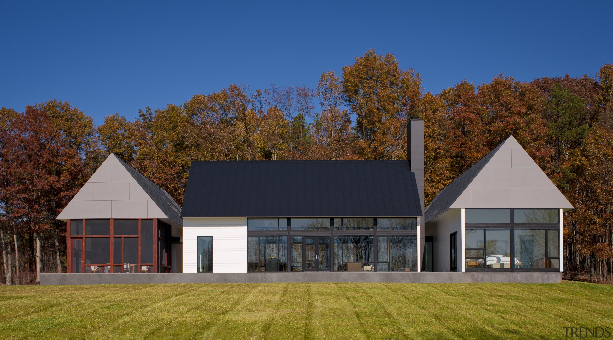 Modern country family home - Modern country family architecture, barn, cottage, estate, facade, farmhouse, home, house, property, real estate, roof, sky, blue, brown