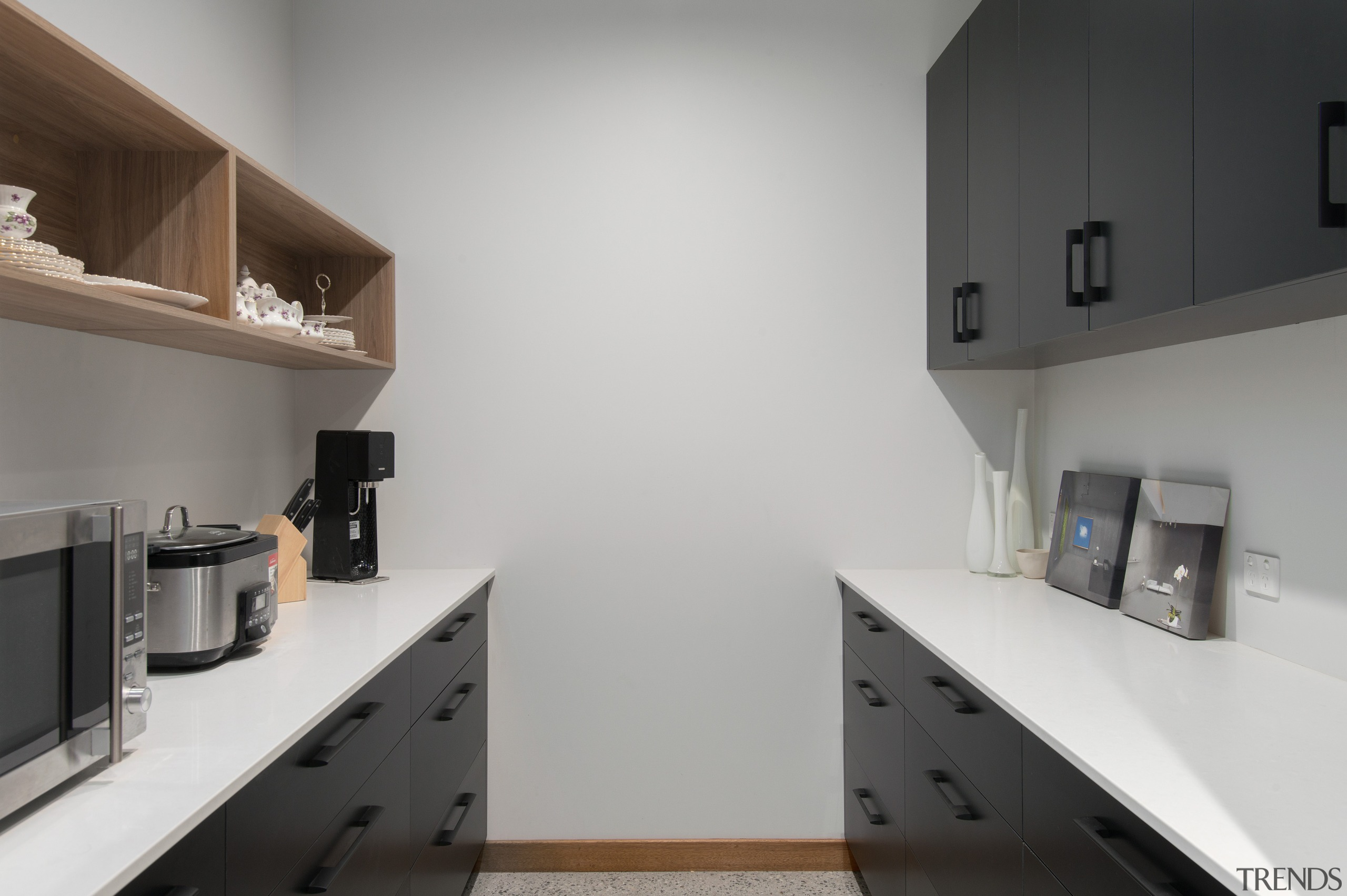 ​​​​​​​A full walk-in pantry, complete with open timber cabinetry, countertop, interior design, kitchen, pantry, shelf, shelving, impact kitchens