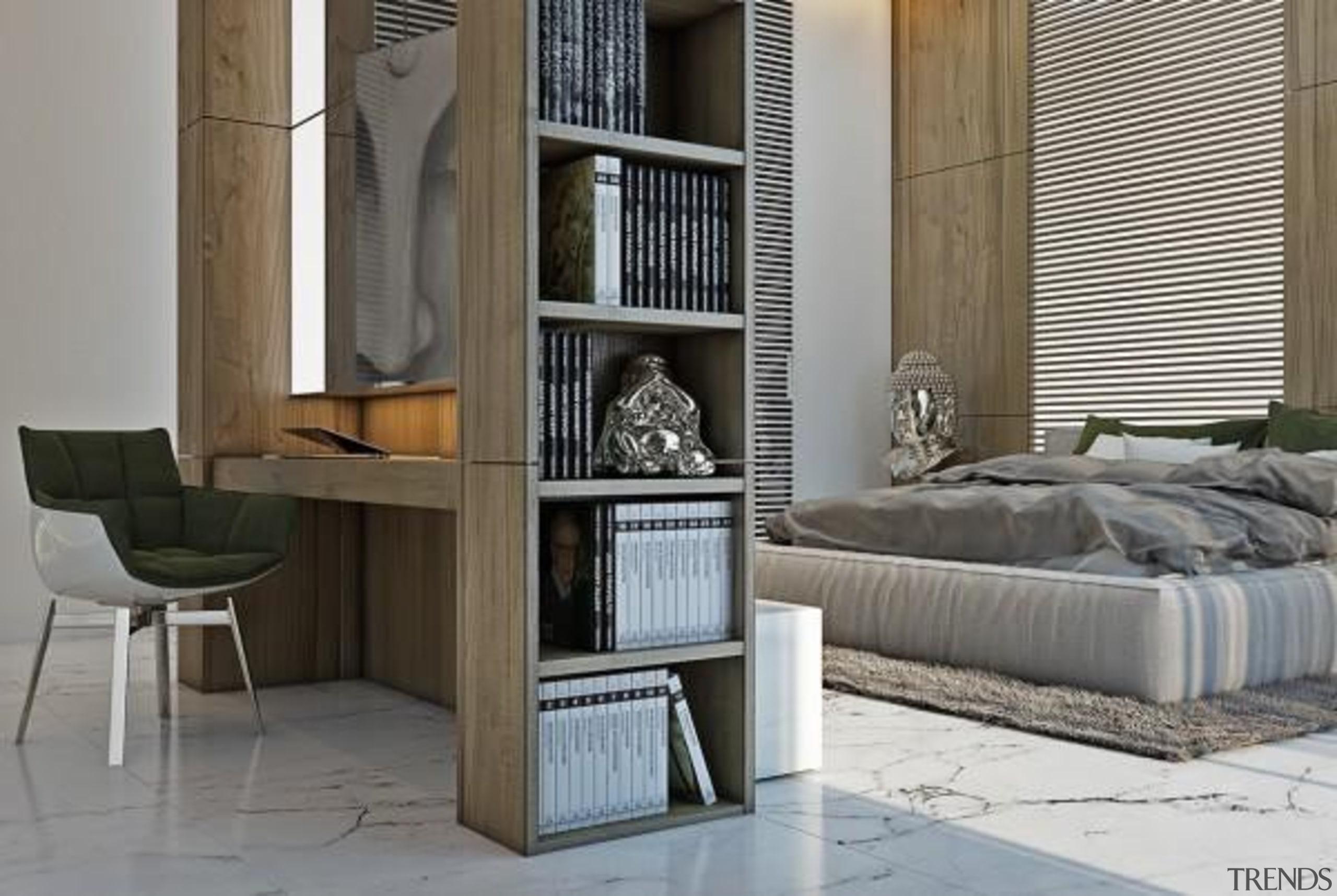 modern bedroom - Masculine Apartments - furniture   furniture, interior design, shelving, table, gray