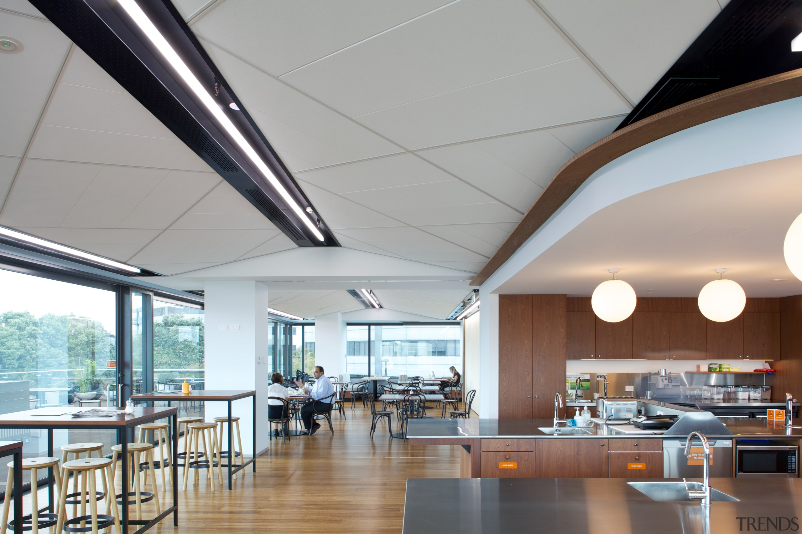 Above and beyond  the new Genesis Energy ceiling, daylighting, interior design, lighting, real estate, roof, gray
